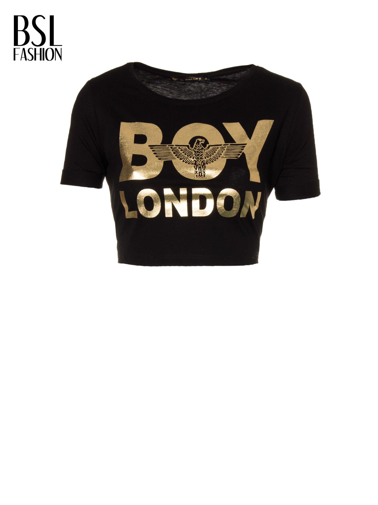 Czarny krótki t-shirt przed pępek z napisem BOY LONDON                                  zdj.                                  2
