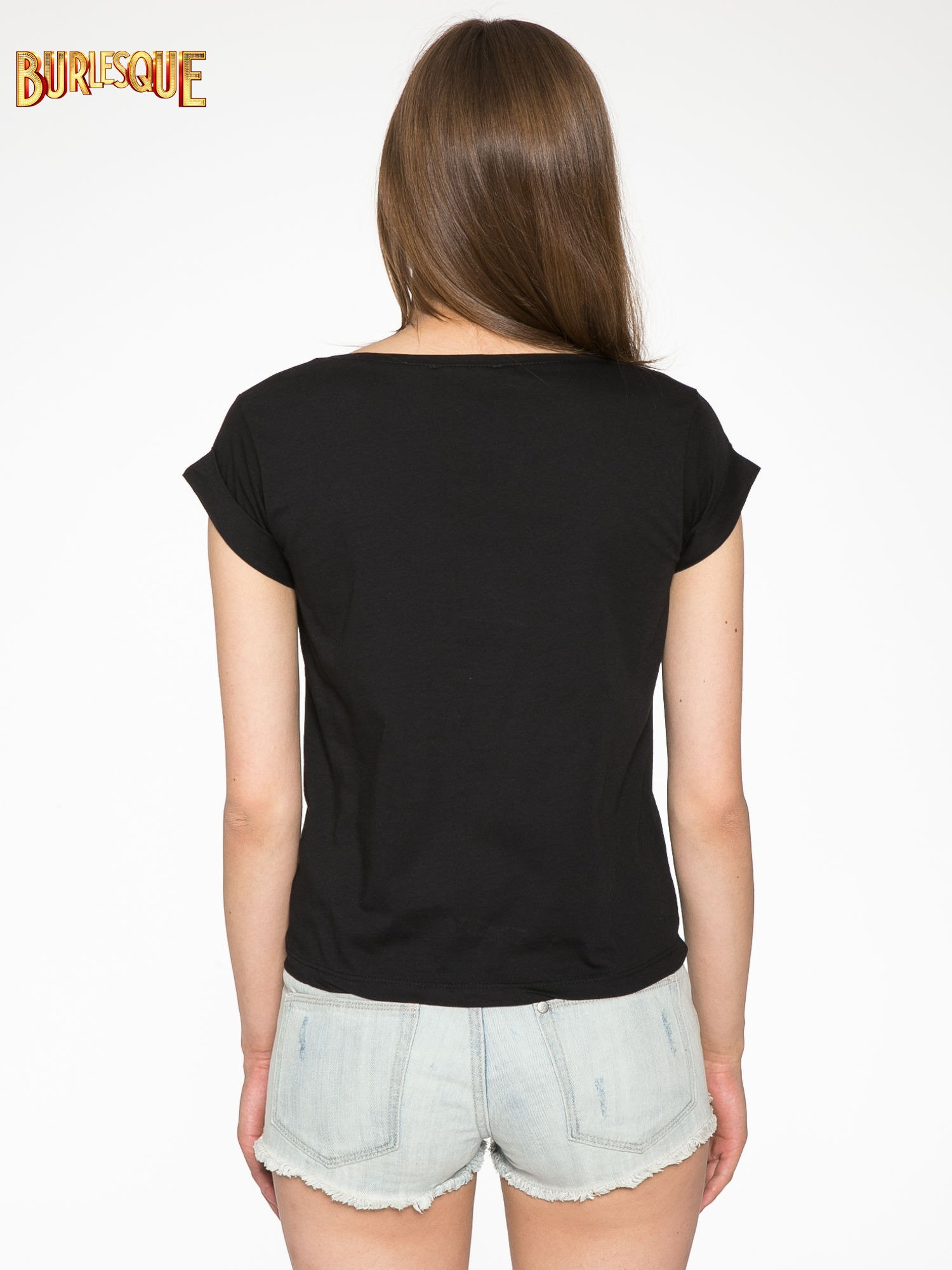 Czarny krótki t-shirt z nadrukiem stokrotek i napisem                                  zdj.                                  4