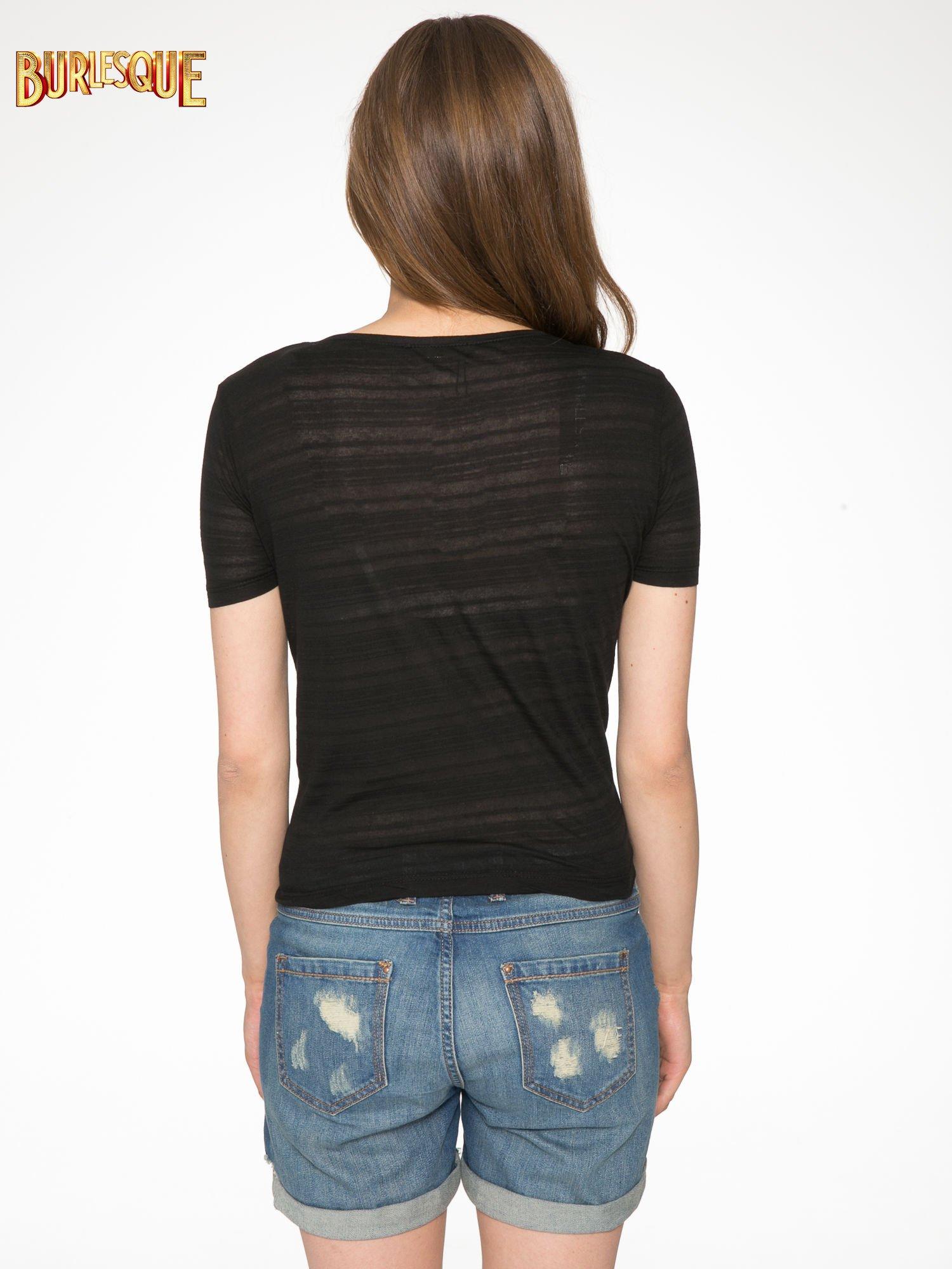 Czarny krótki t-shirt z napisem PARTY PERFECT FOREVER                                  zdj.                                  4