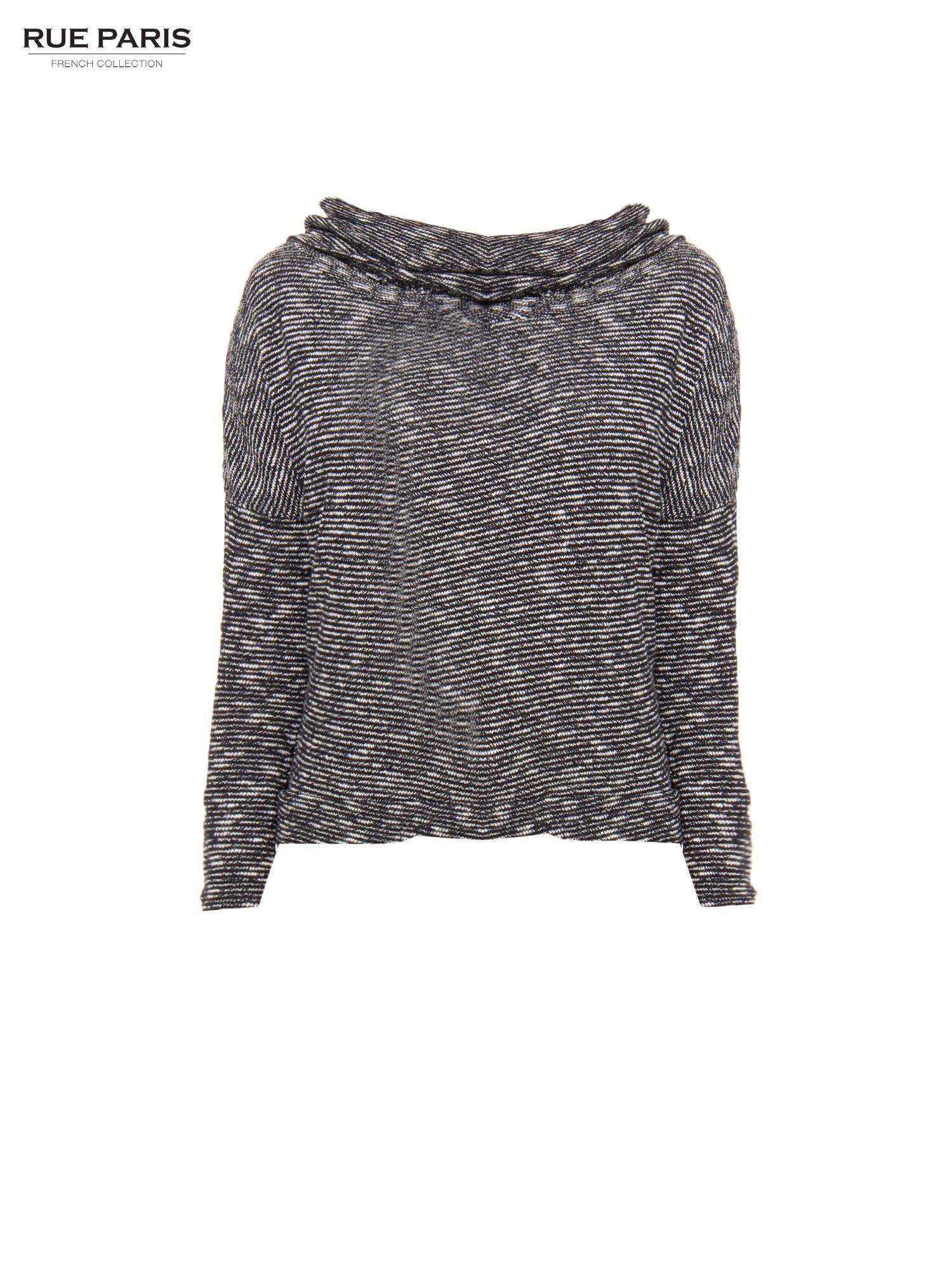 Czarny melanżowy sweter z ozdobnym kołnierzogolfem                                  zdj.                                  5