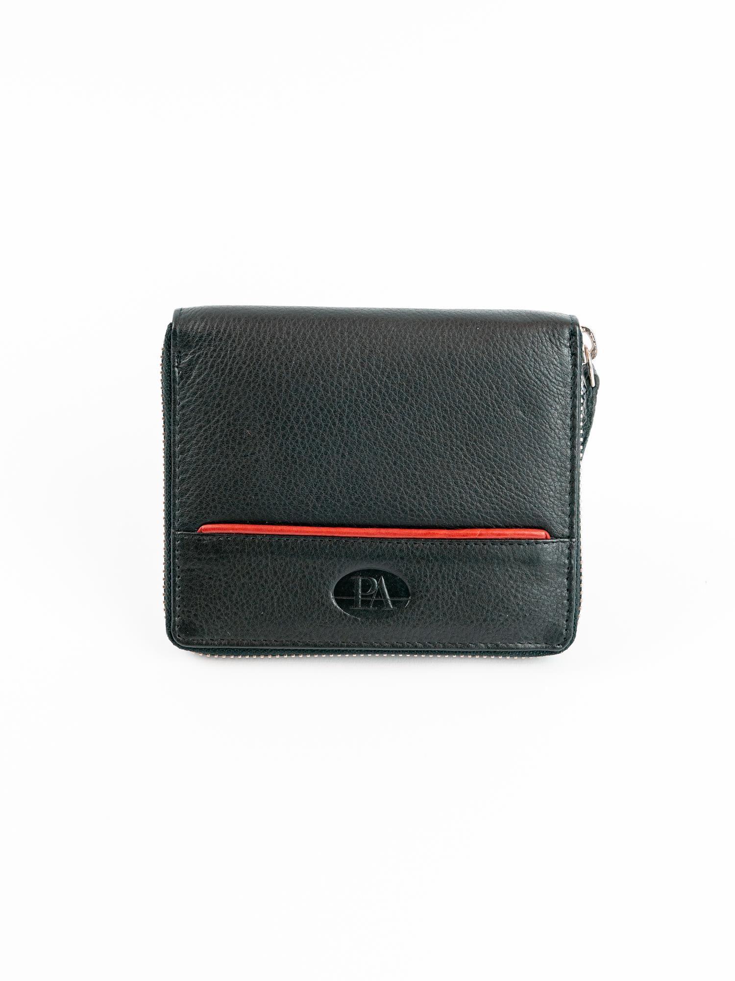 e2d2614e76343 Czarny męski portfel ze skóry na suwak - Mężczyźni portfel męski ...