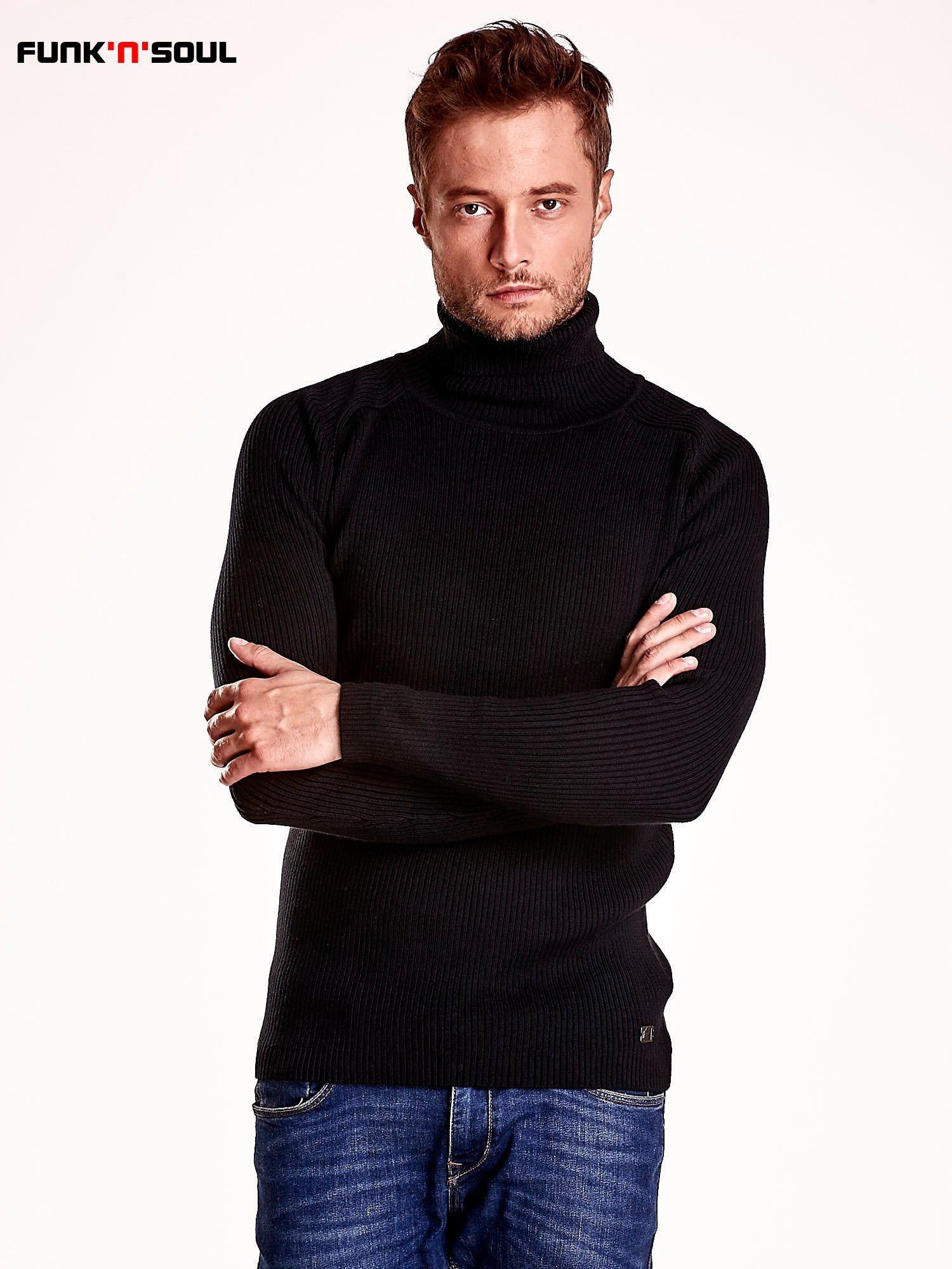 Czarny męski sweter z golfem FUNK N SOUL                                  zdj.                                  2