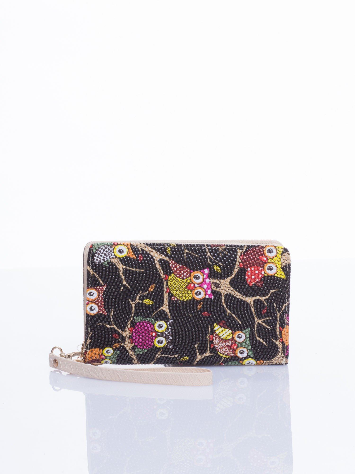 Czarny mini portfel w sówki                                  zdj.                                  1
