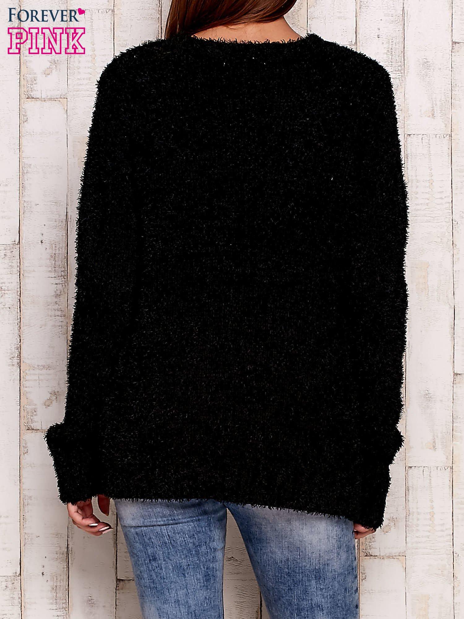 Czarny otwarty włochaty sweter                                   zdj.                                  4