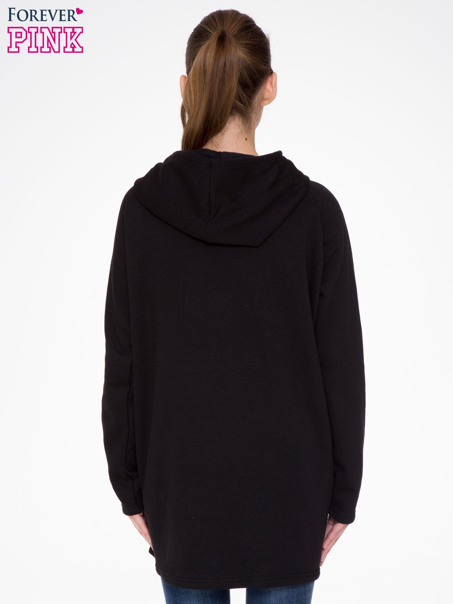 Czarny płaszcz dresowy z kapturem                                  zdj.                                  4