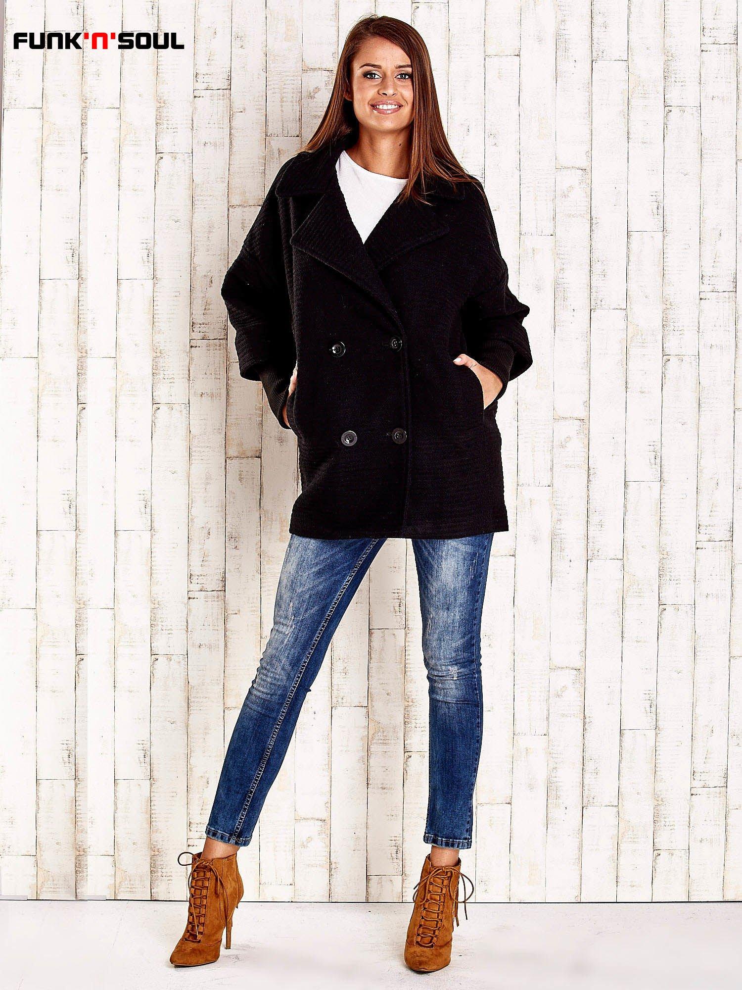 Czarny płaszcz oversize FUNK N SOUL                                  zdj.                                  2