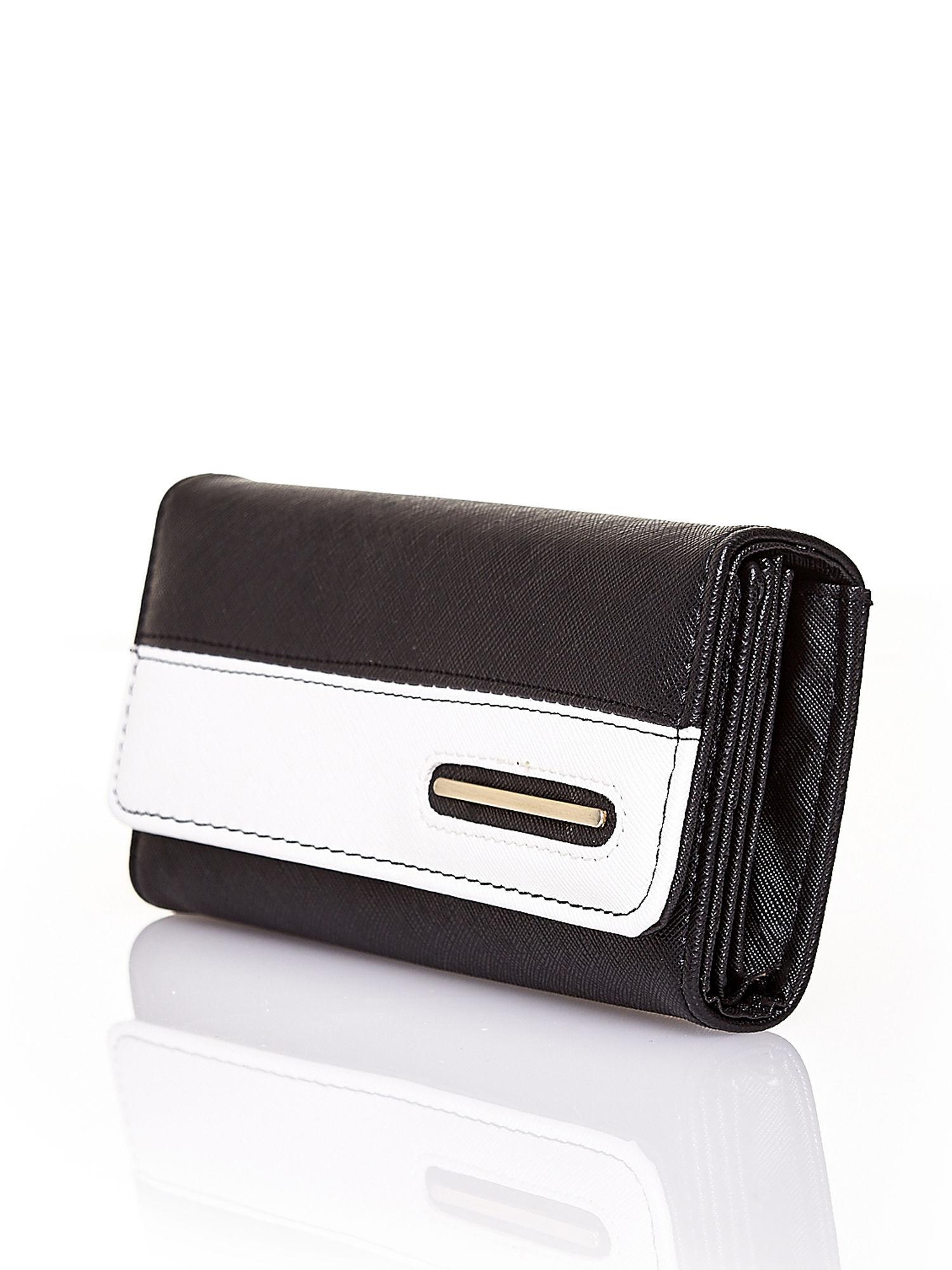 Czarny portfel z białym wykończeniem                                  zdj.                                  3