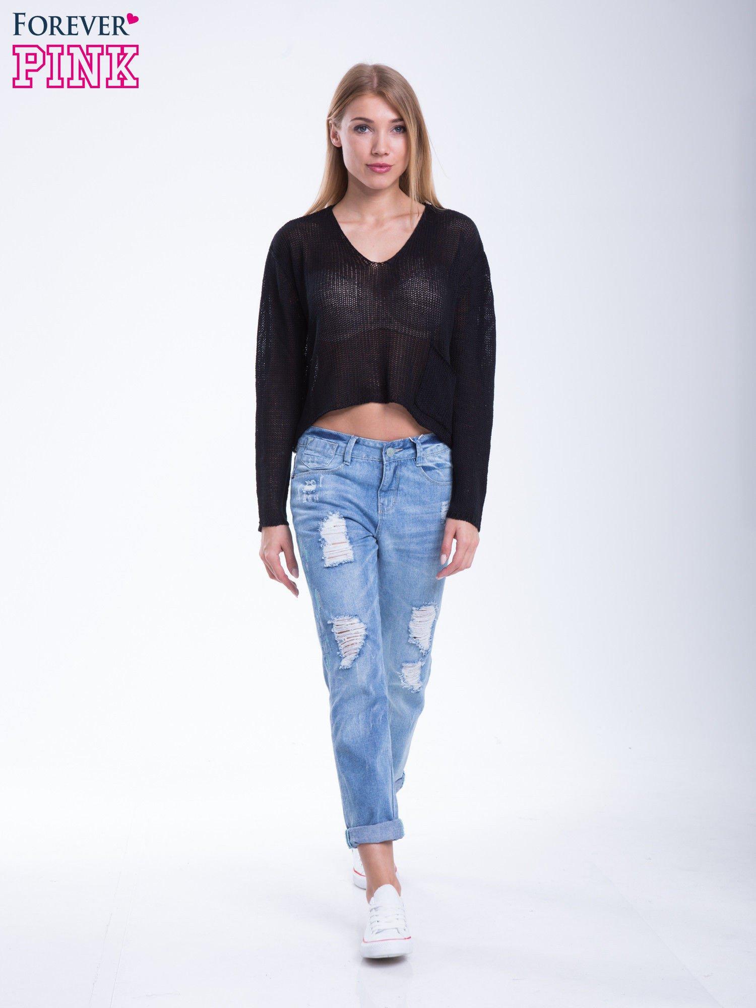 Czarny siatkowy sweter typu crop top                                  zdj.                                  5