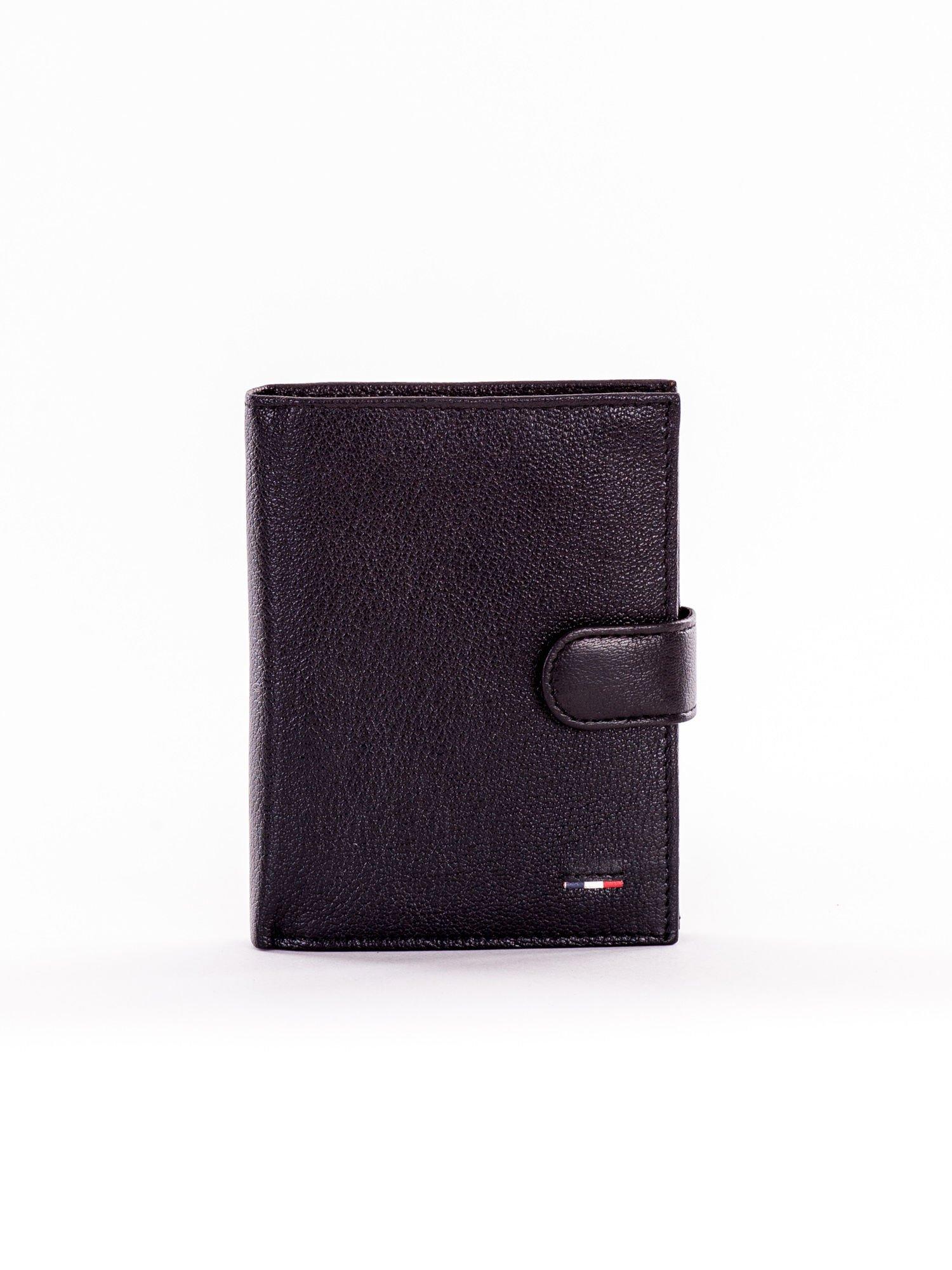 e169bdf0c2ceb Czarny skórzany portfel zapinany na napę - Mężczyźni portfel męski ...