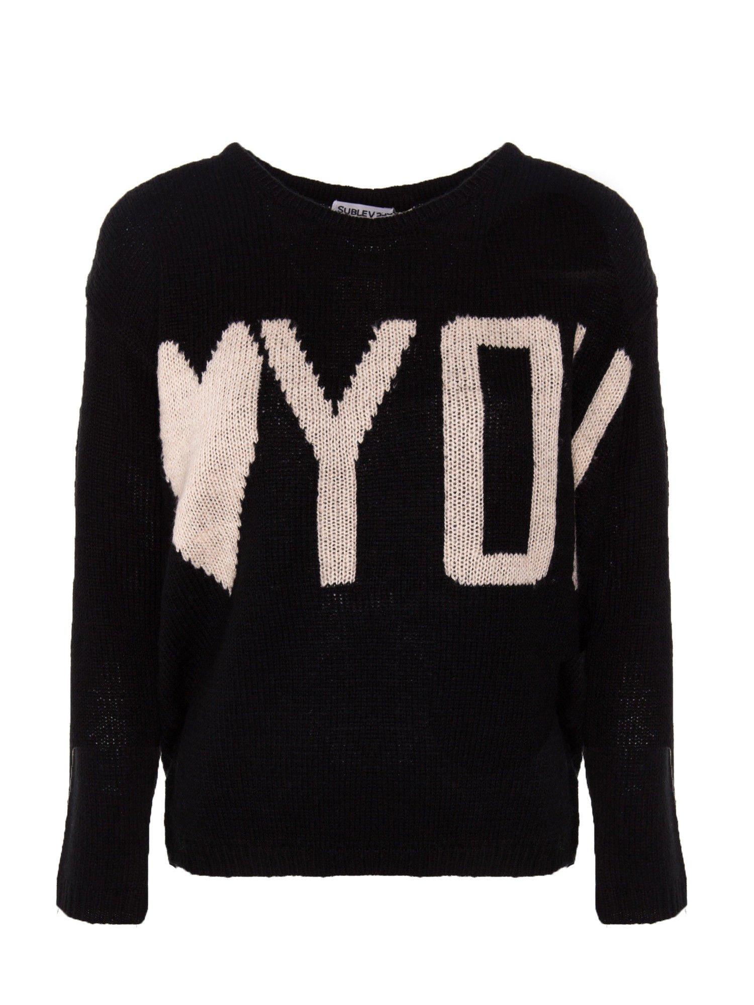 Czarny sweter z sercem i napisem YOU                                  zdj.                                  1