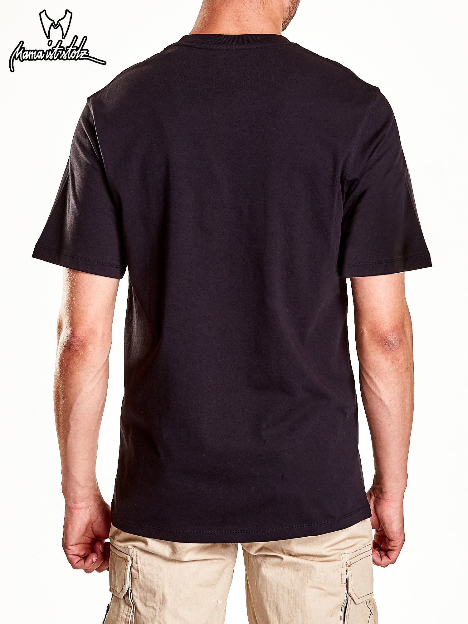 Czarny t-shirt męski z nadrukiem moro                                  zdj.                                  7