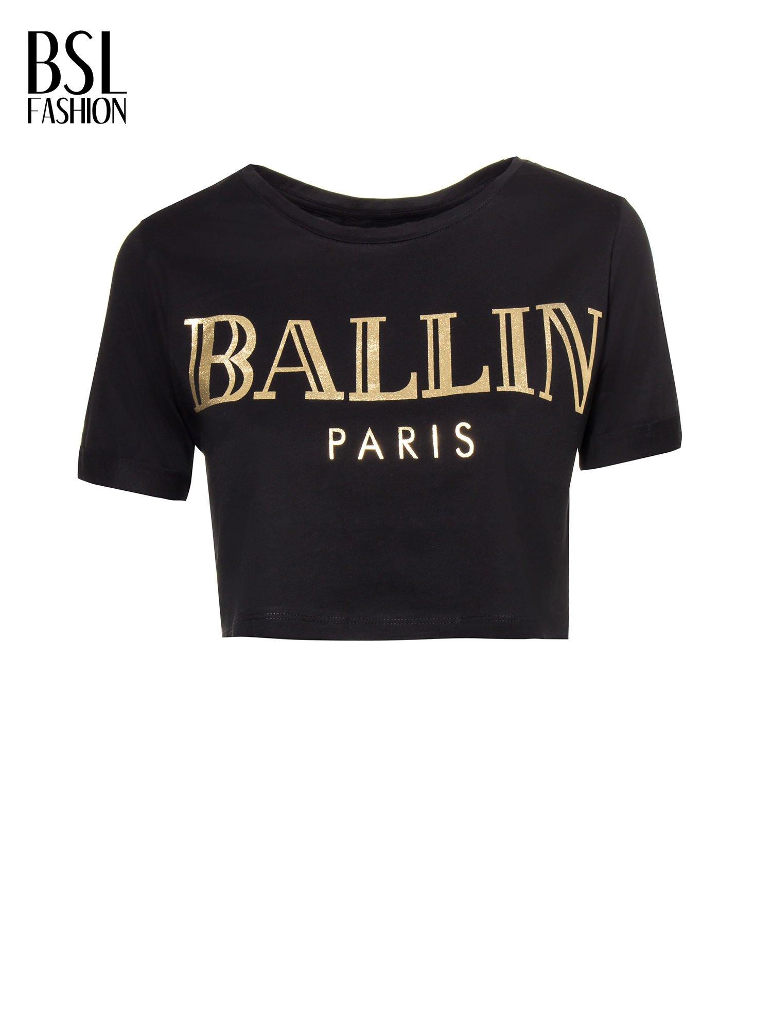 Czarny t-shirt typu crop top ze złotym napisem BALLIN PARIS                                  zdj.                                  2
