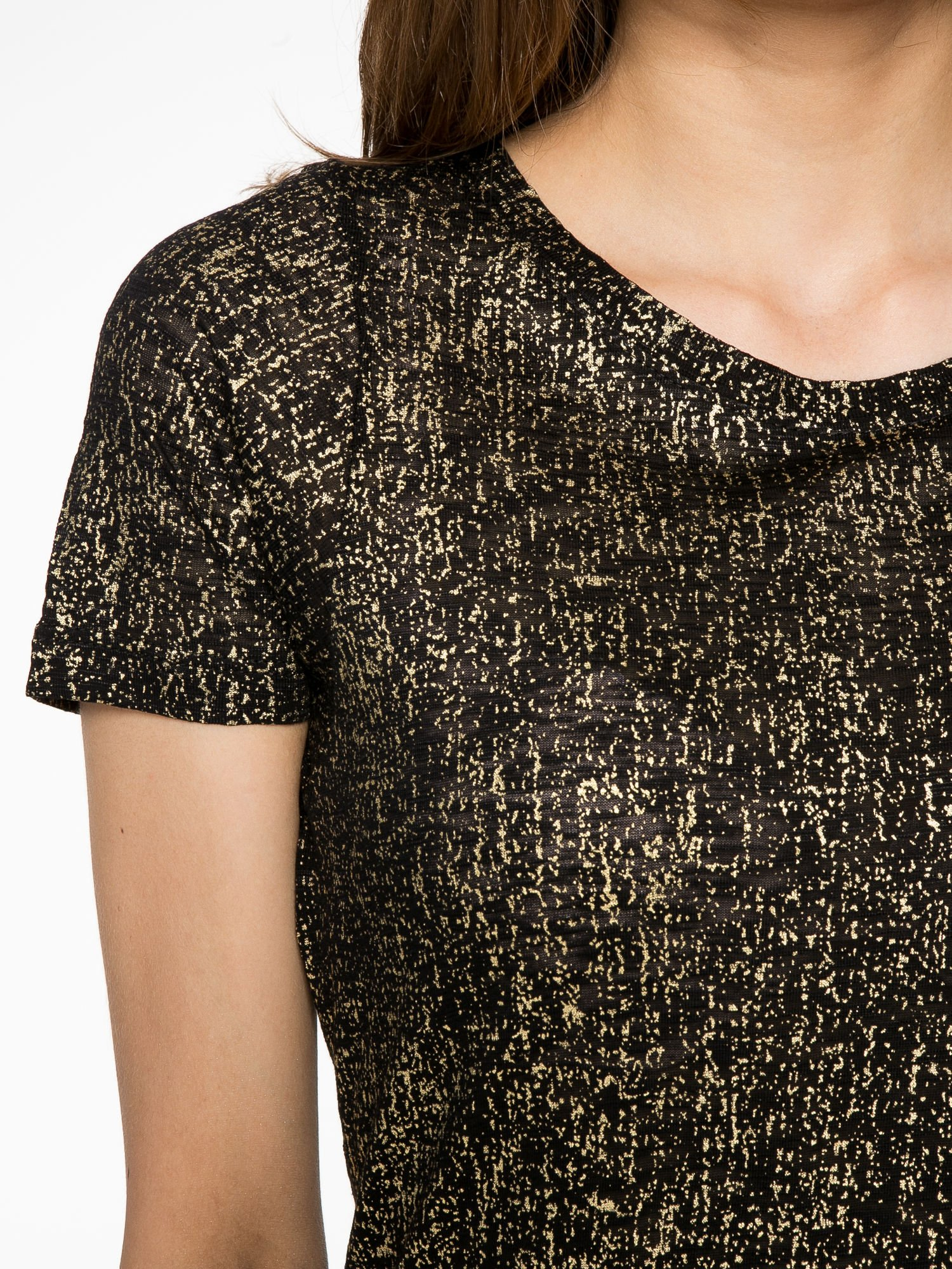 Czarny t shirt w złote plamki T shirt jednokolorowy