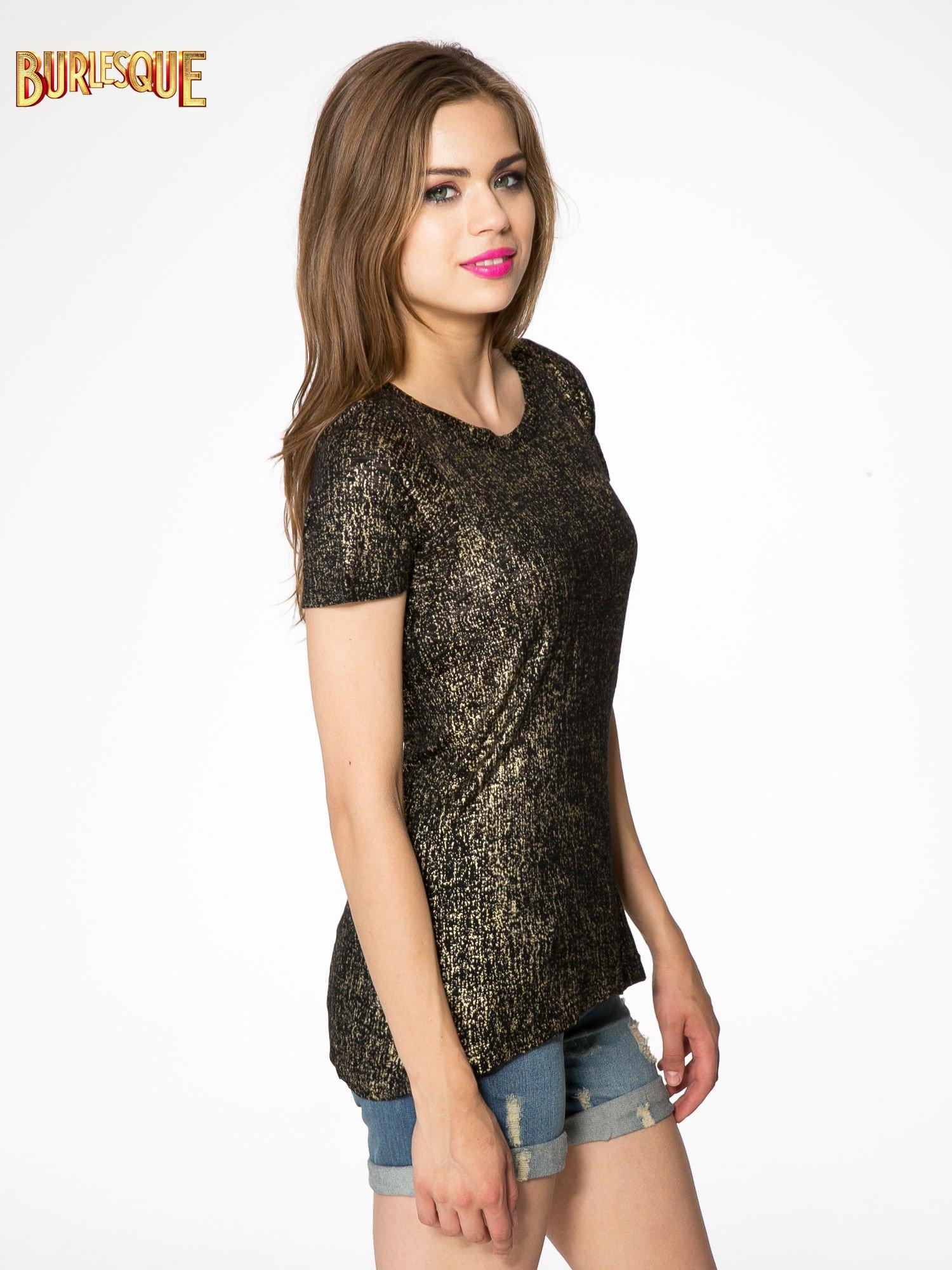 Czarny t-shirt w złote plamki                                  zdj.                                  3