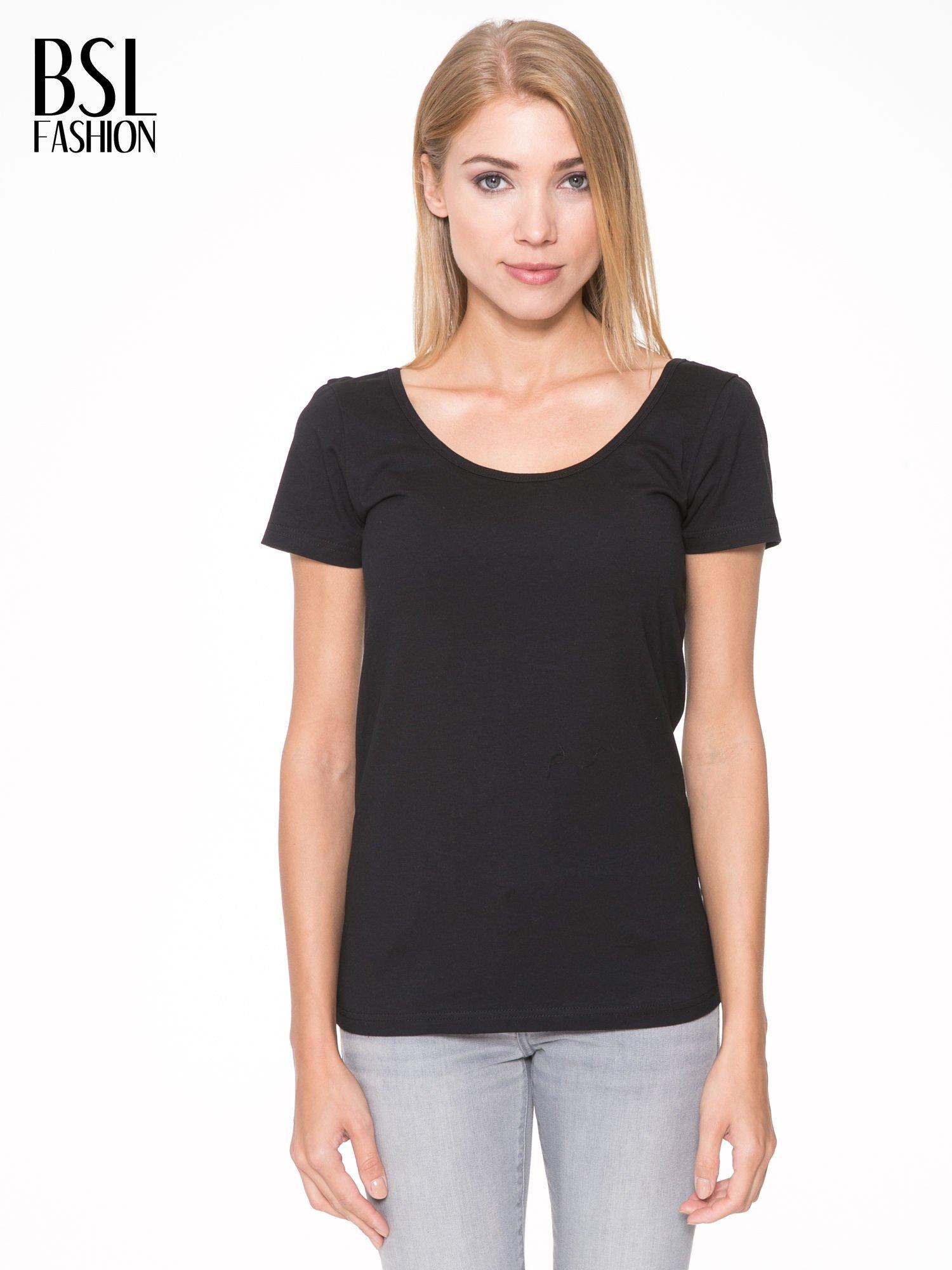 Czarny t-shirt z dekoltem na plecach                                  zdj.                                  1
