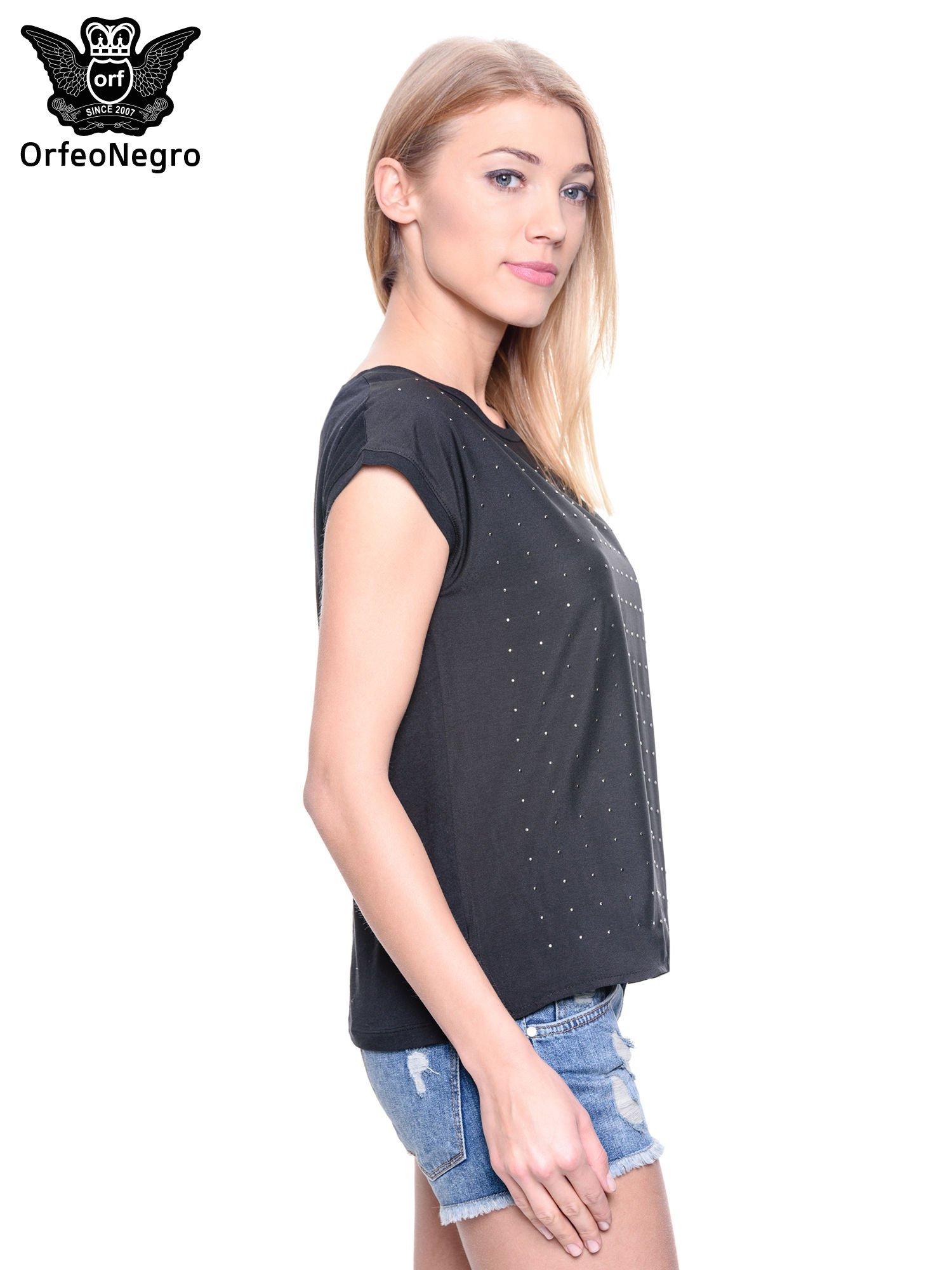 Czarny t-shirt z dżetami                                  zdj.                                  3