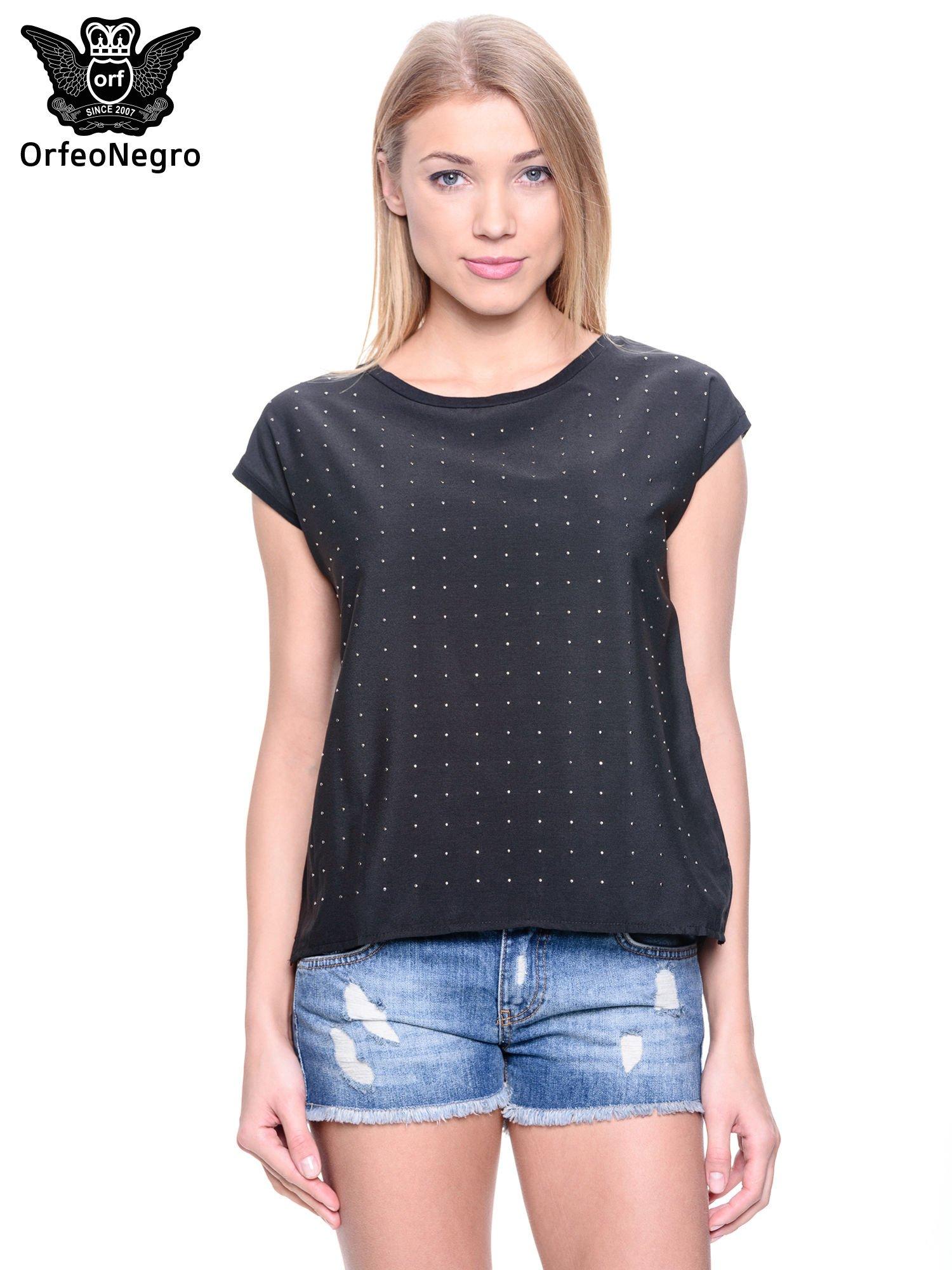 Czarny t-shirt z dżetami                                  zdj.                                  1