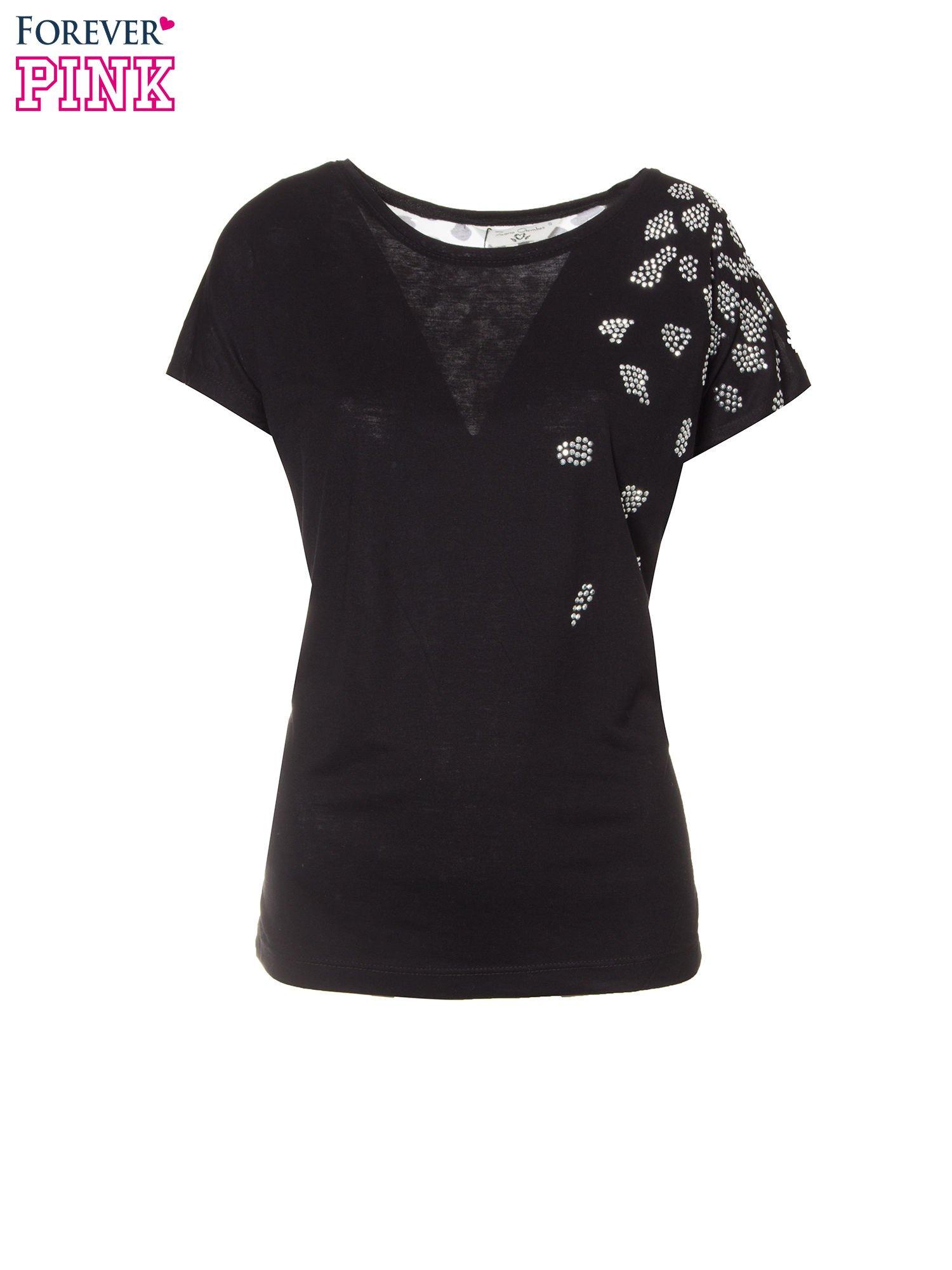 Czarny t-shirt z dżetami i tyłem w cętki                                  zdj.                                  2