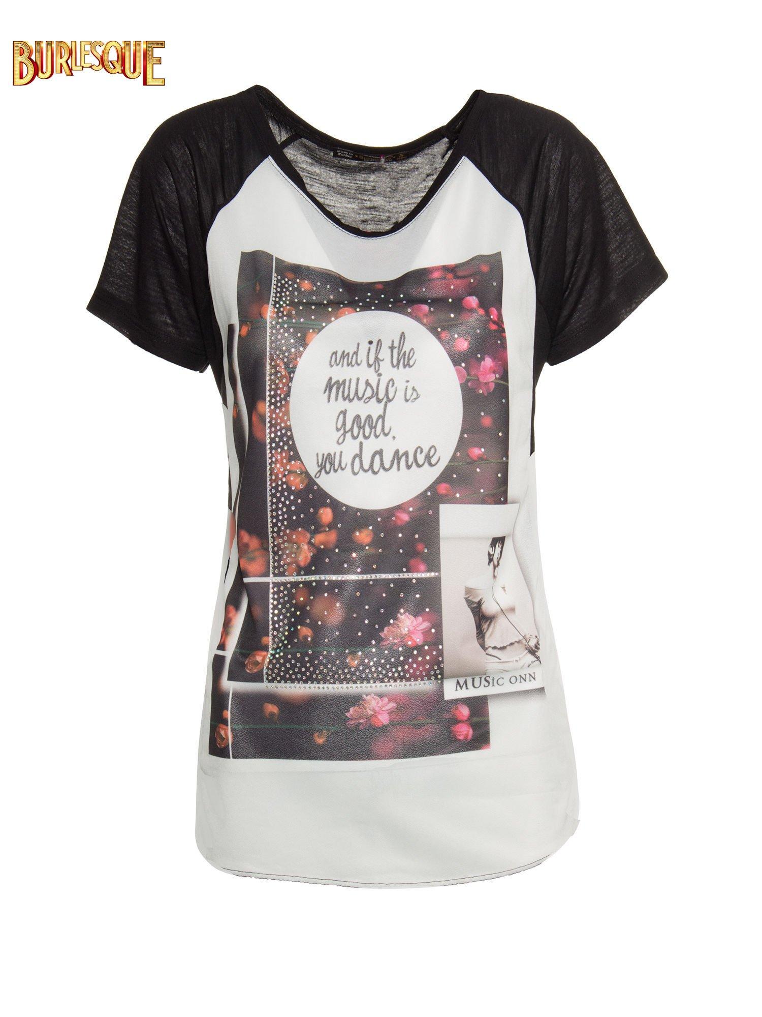 Czarny  t-shirt z motywem muzycznym                                  zdj.                                  7