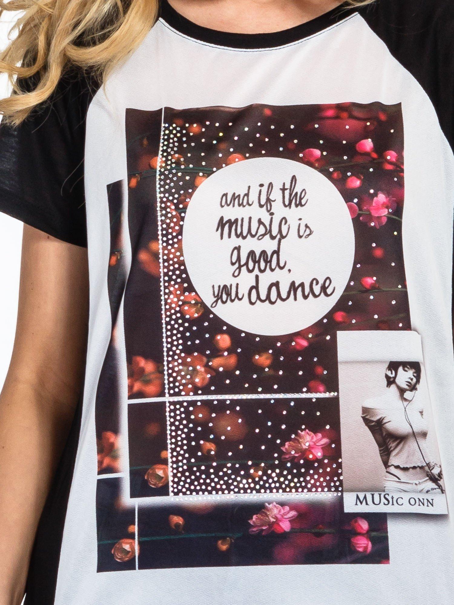 Czarny  t-shirt z motywem muzycznym                                  zdj.                                  5