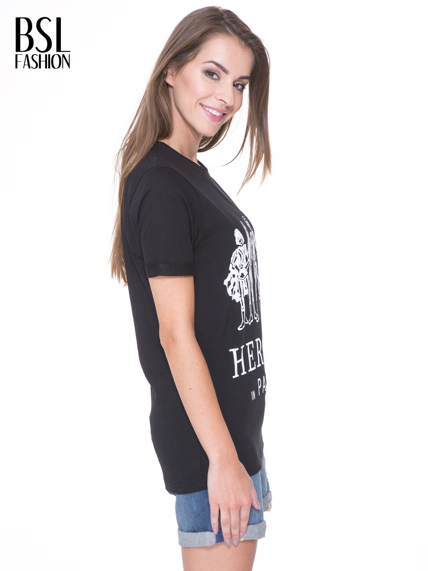 Czarny t-shirt z nadrukiem HEROÉS IN PARIS                                  zdj.                                  3