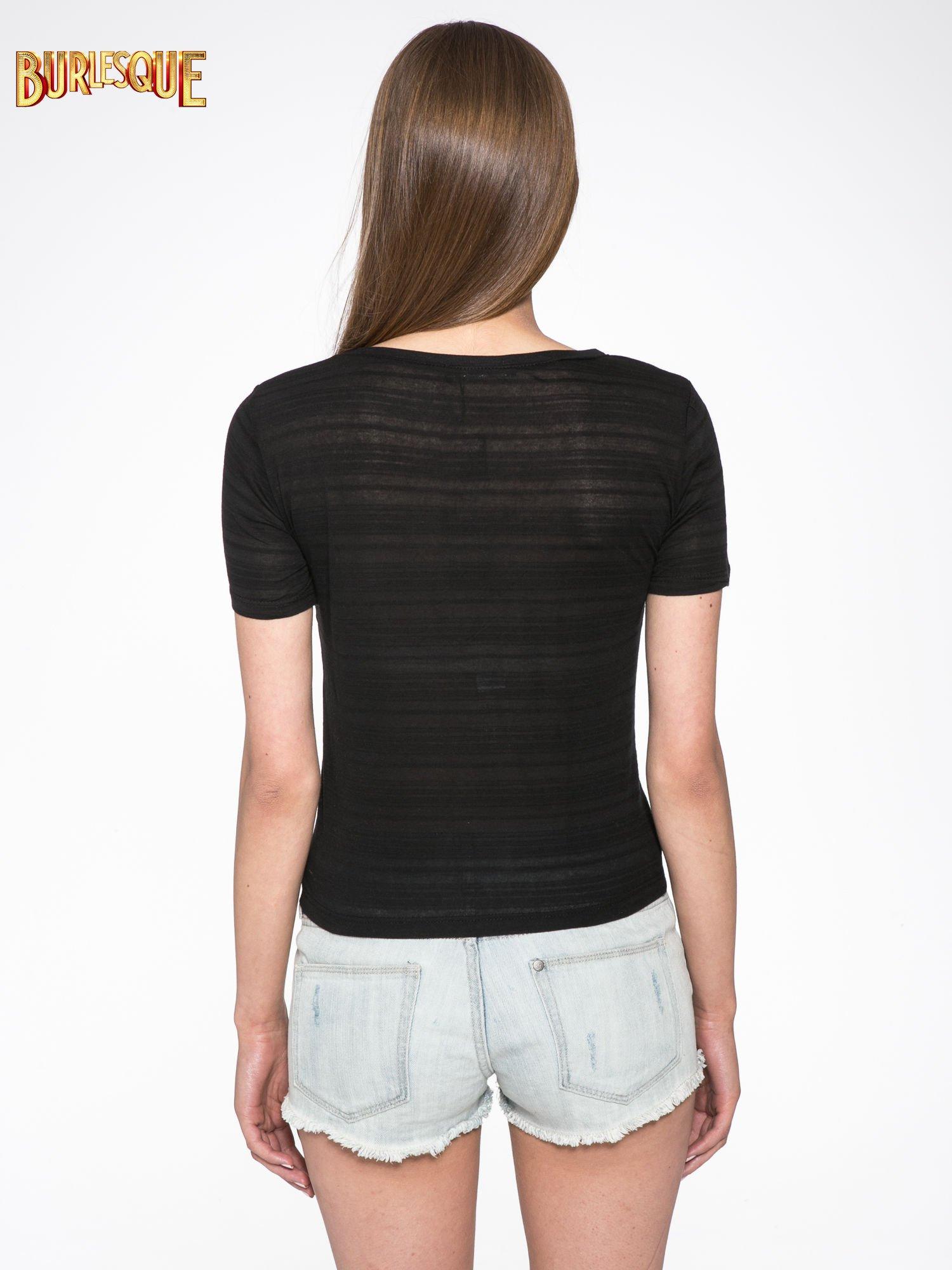Czarny t-shirt z nadrukiem korony                                  zdj.                                  4