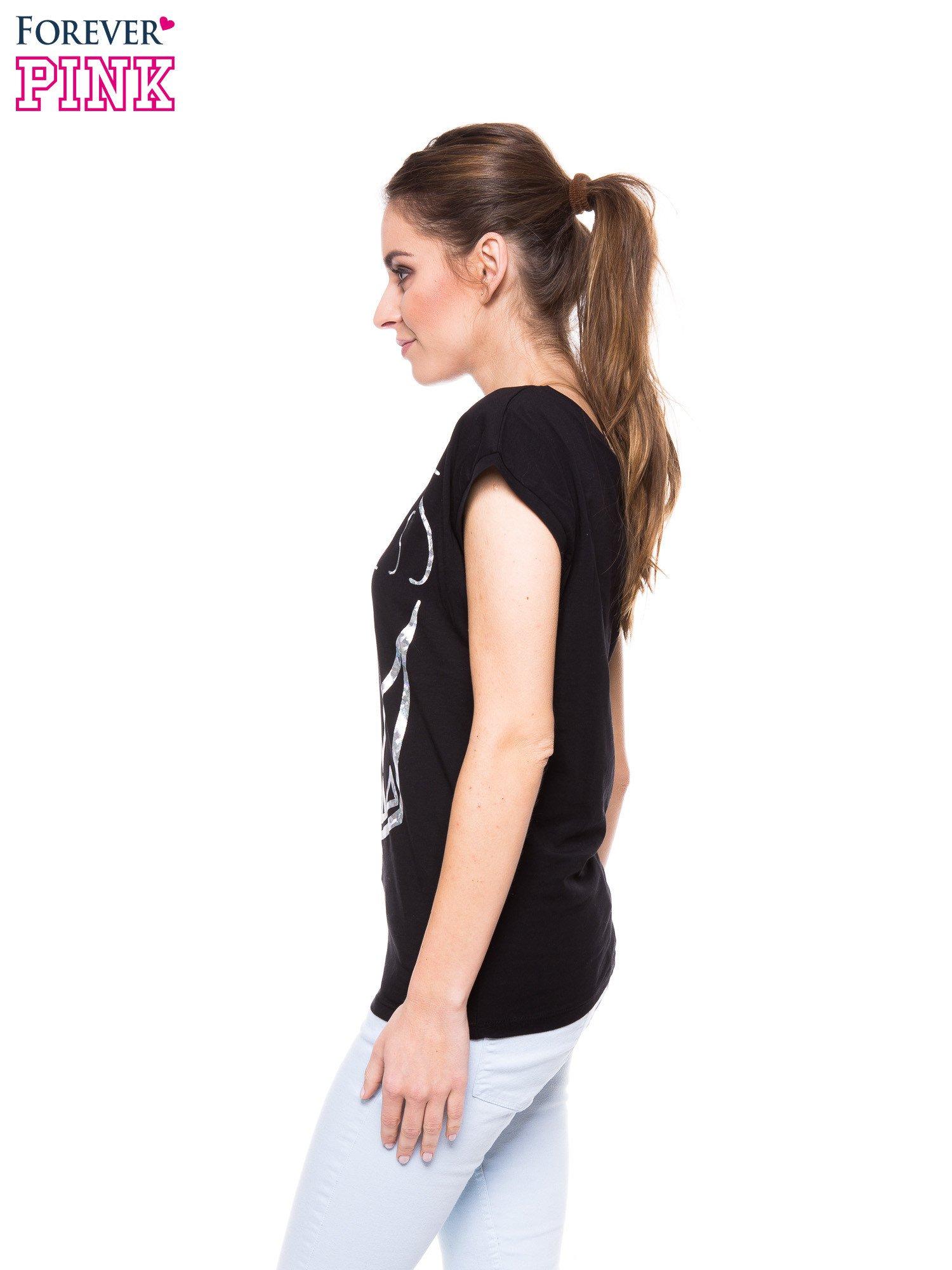 Czarny t-shirt z nadrukiem korony księżniczki                                  zdj.                                  2