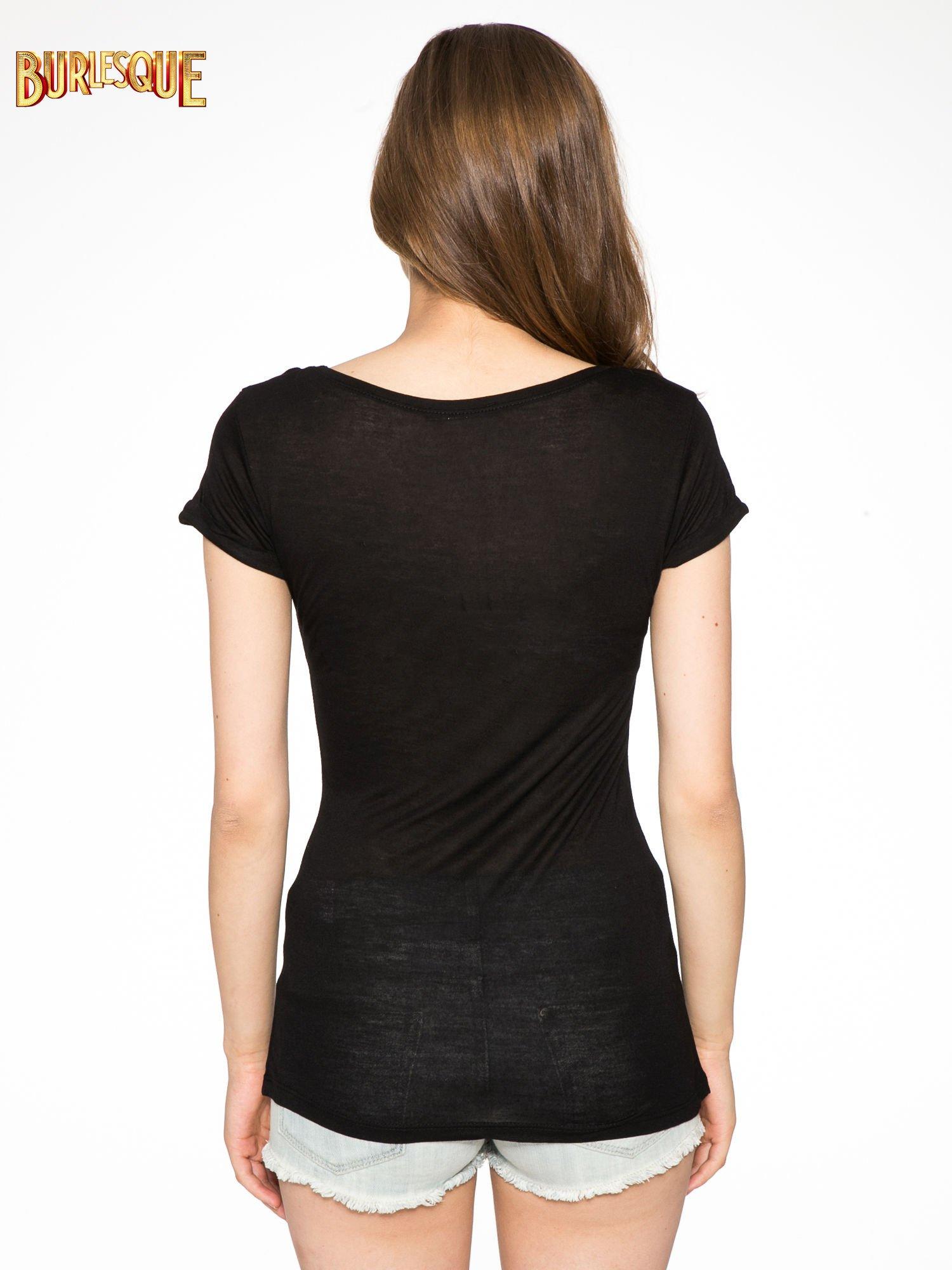 Czarny t-shirt z nadrukiem kota i myszy                                  zdj.                                  4