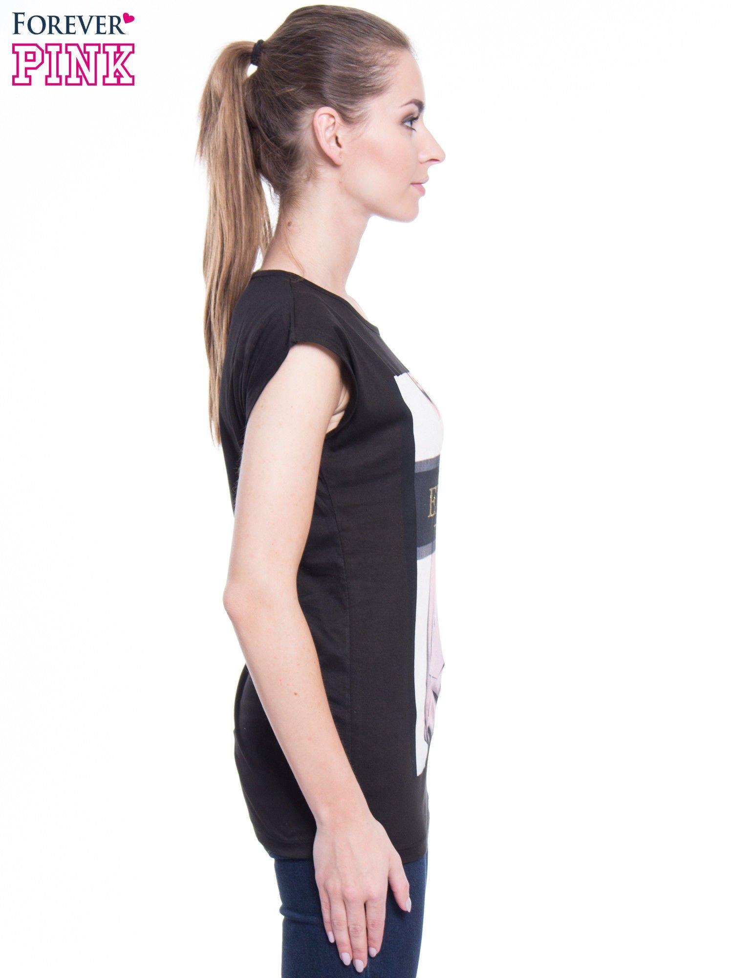 Czarny t-shirt z nadrukiem modowym i złotym napisem EXPENSIVE                                  zdj.                                  3