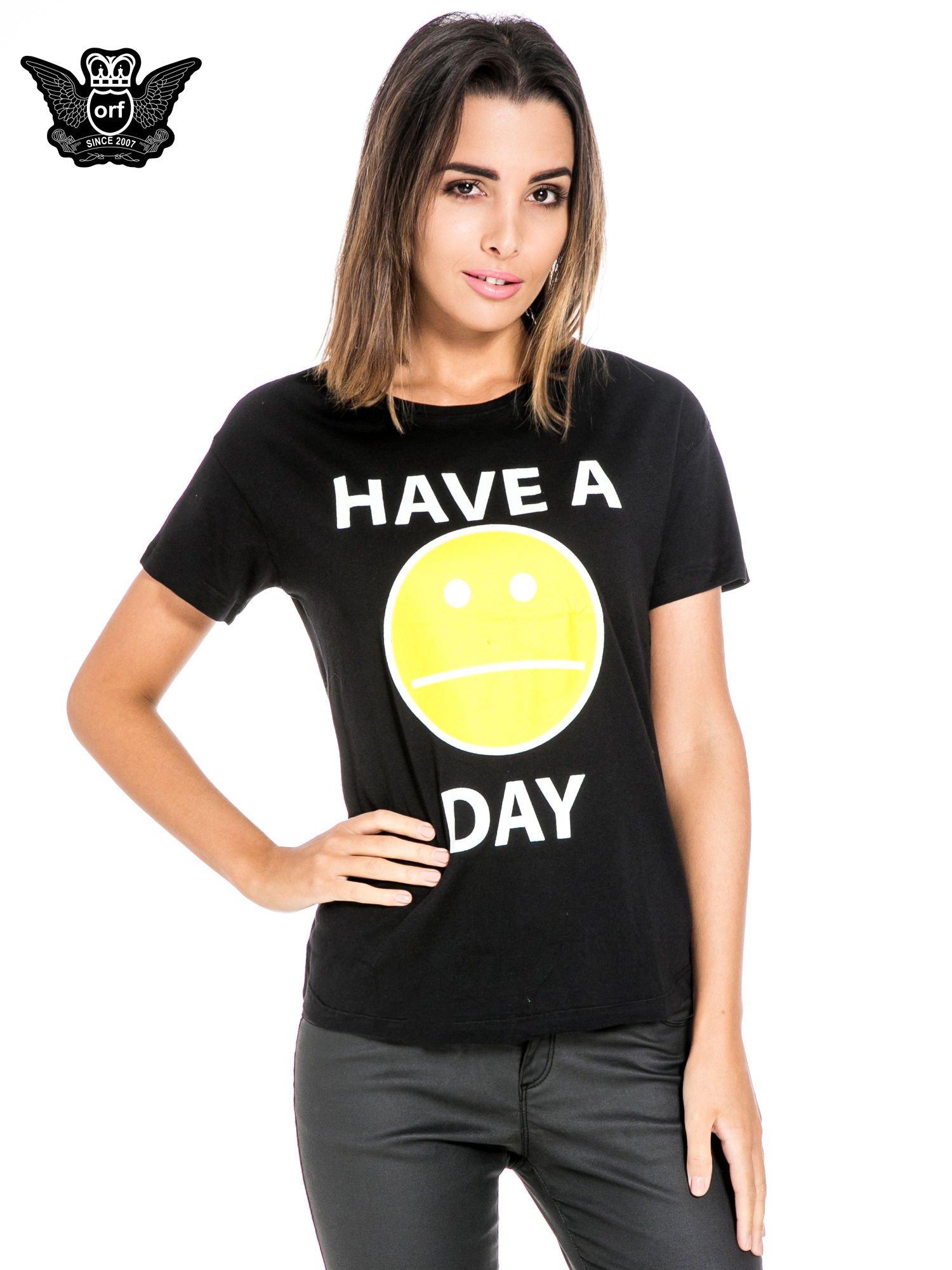 Czarny t-shirt z nadrukiem so-so smile                                  zdj.                                  1