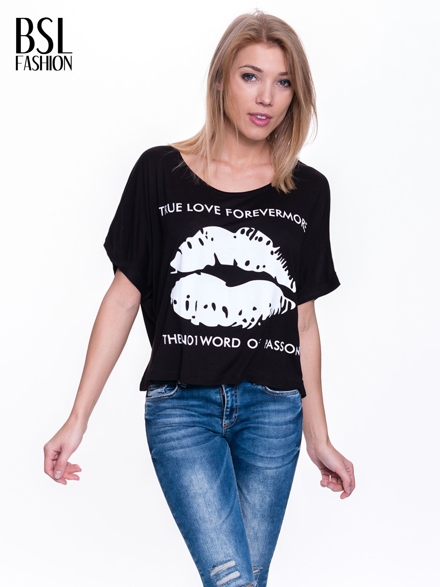 Czarny t-shirt z nadrukiem ust i napisem TRUE LOVE                                  zdj.                                  1