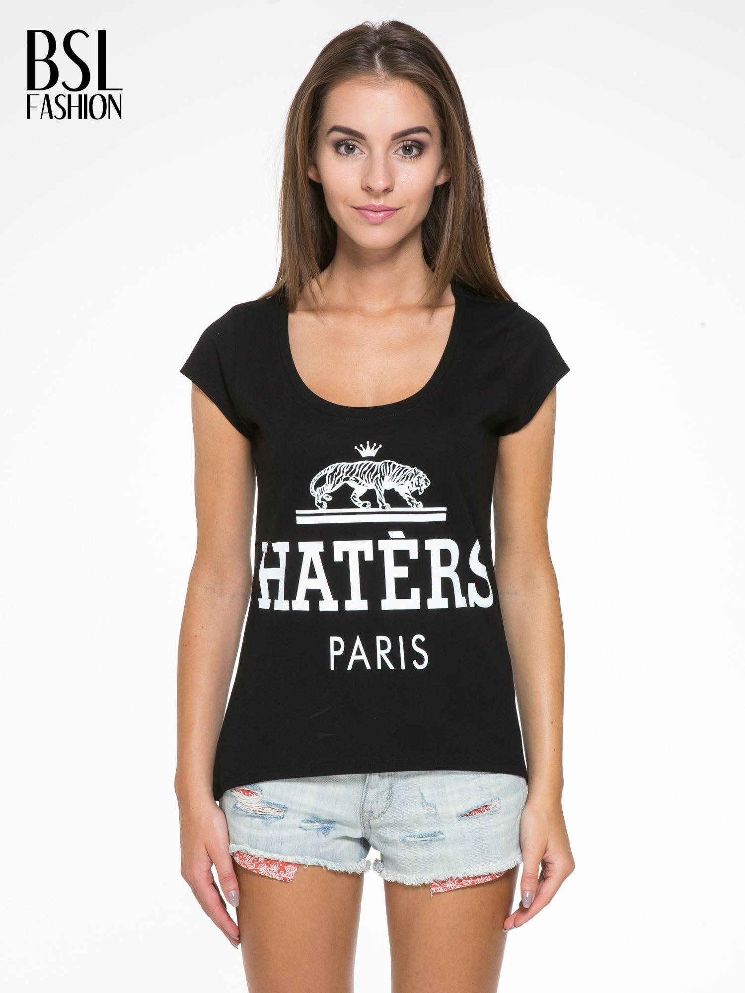 Czarny t-shirt z napisem HATERS PARIS                                  zdj.                                  1