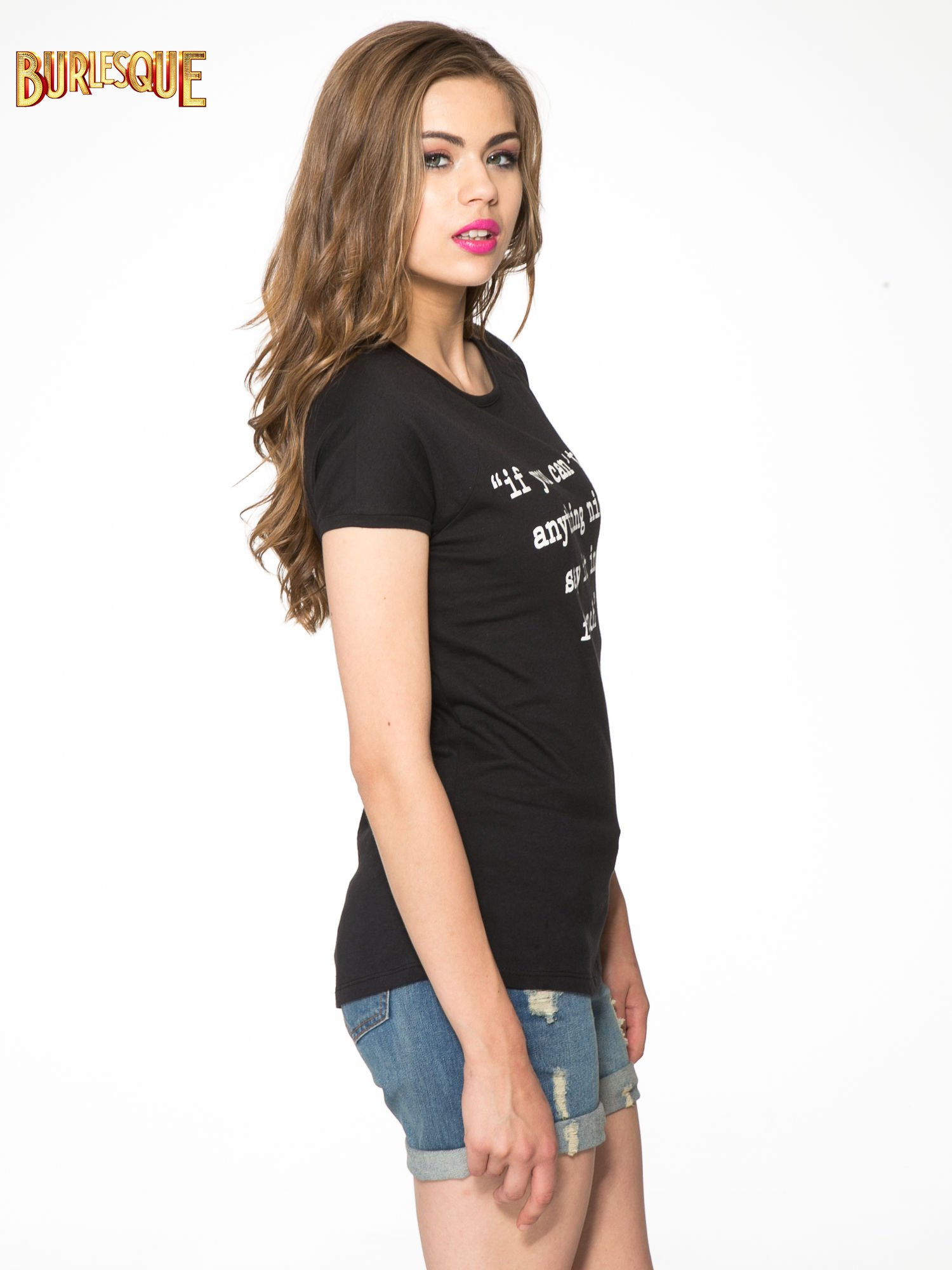 Czarny t-shirt z napisem IF YOU CAN'T SAY ANYTHING NICE SAY IT IN FRENCH                                  zdj.                                  3