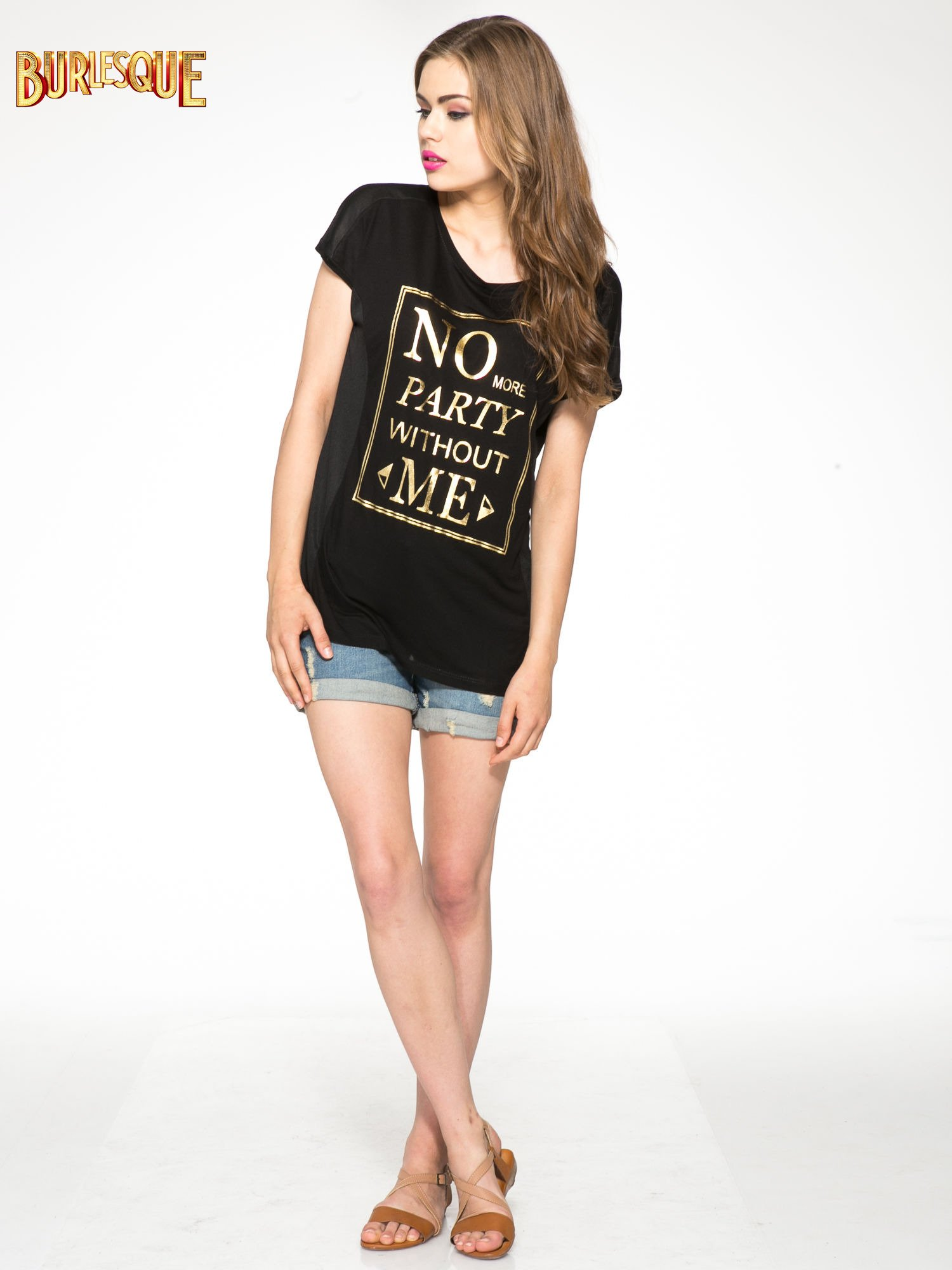 Czarny t-shirt z napisem NO MORE PARTY WITHOUT ME                                  zdj.                                  2