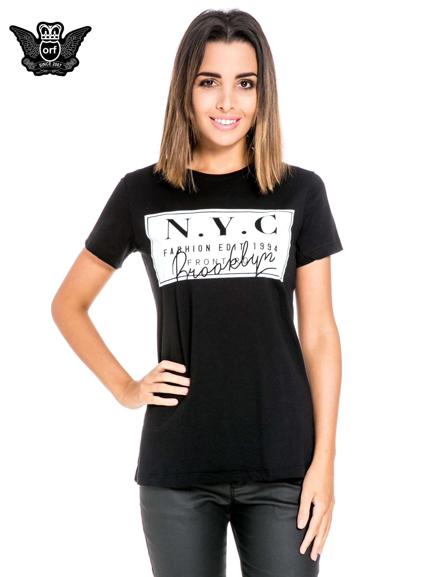 Czarny t-shirt z napisem NYC Brooklyn                                  zdj.                                  1