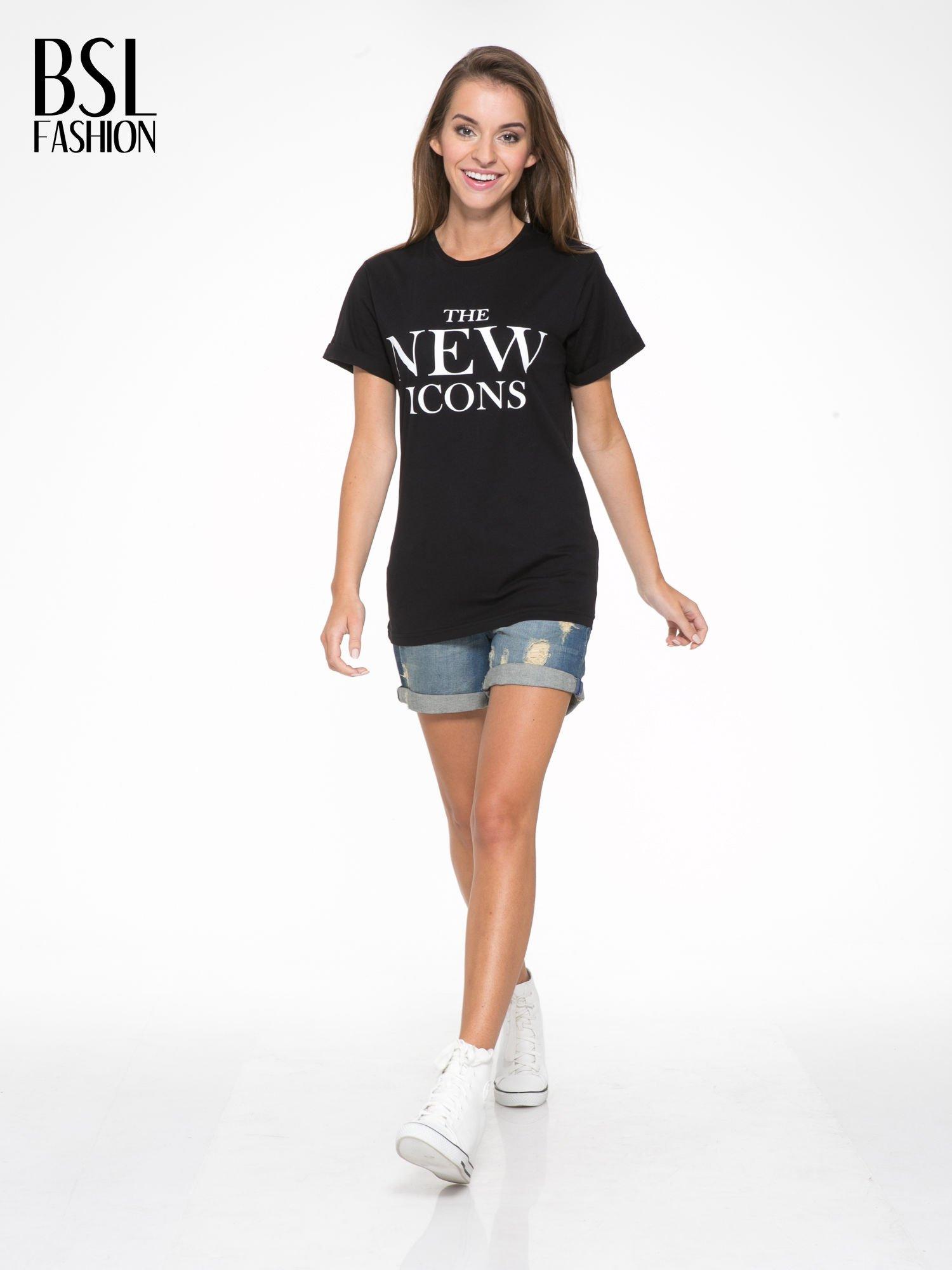 Czarny t-shirt z napisem THE NEW ICONS                                  zdj.                                  5