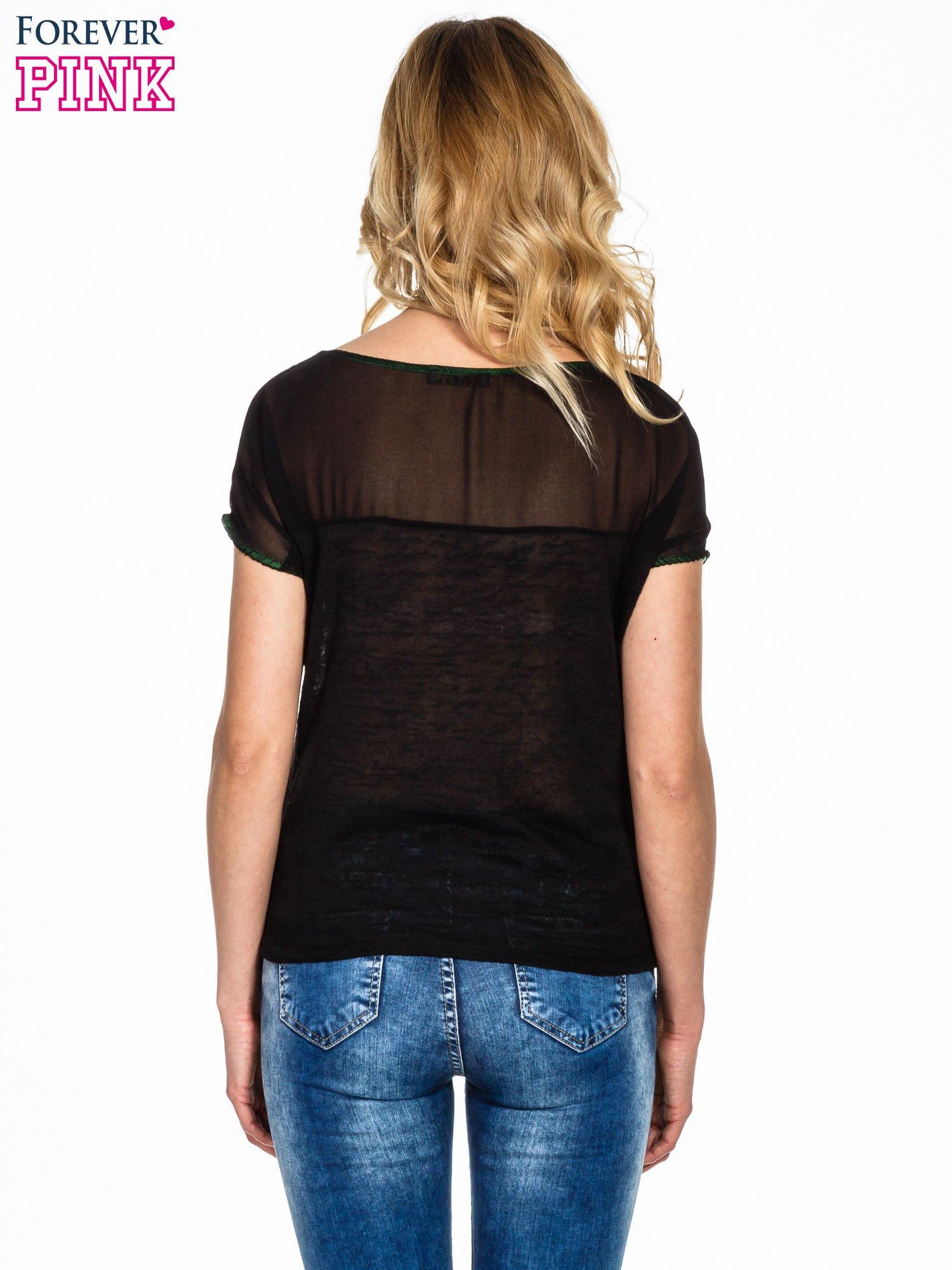 Czarny t-shirt z węzłem zdobiony kryształkami                                  zdj.                                  4