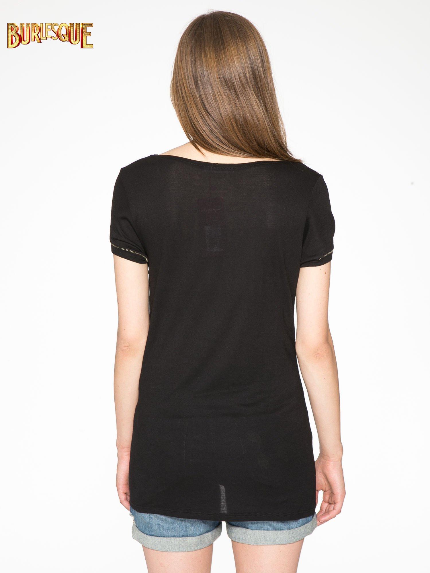 Czarny t-shirt ze złotym hasztagiem                                  zdj.                                  4