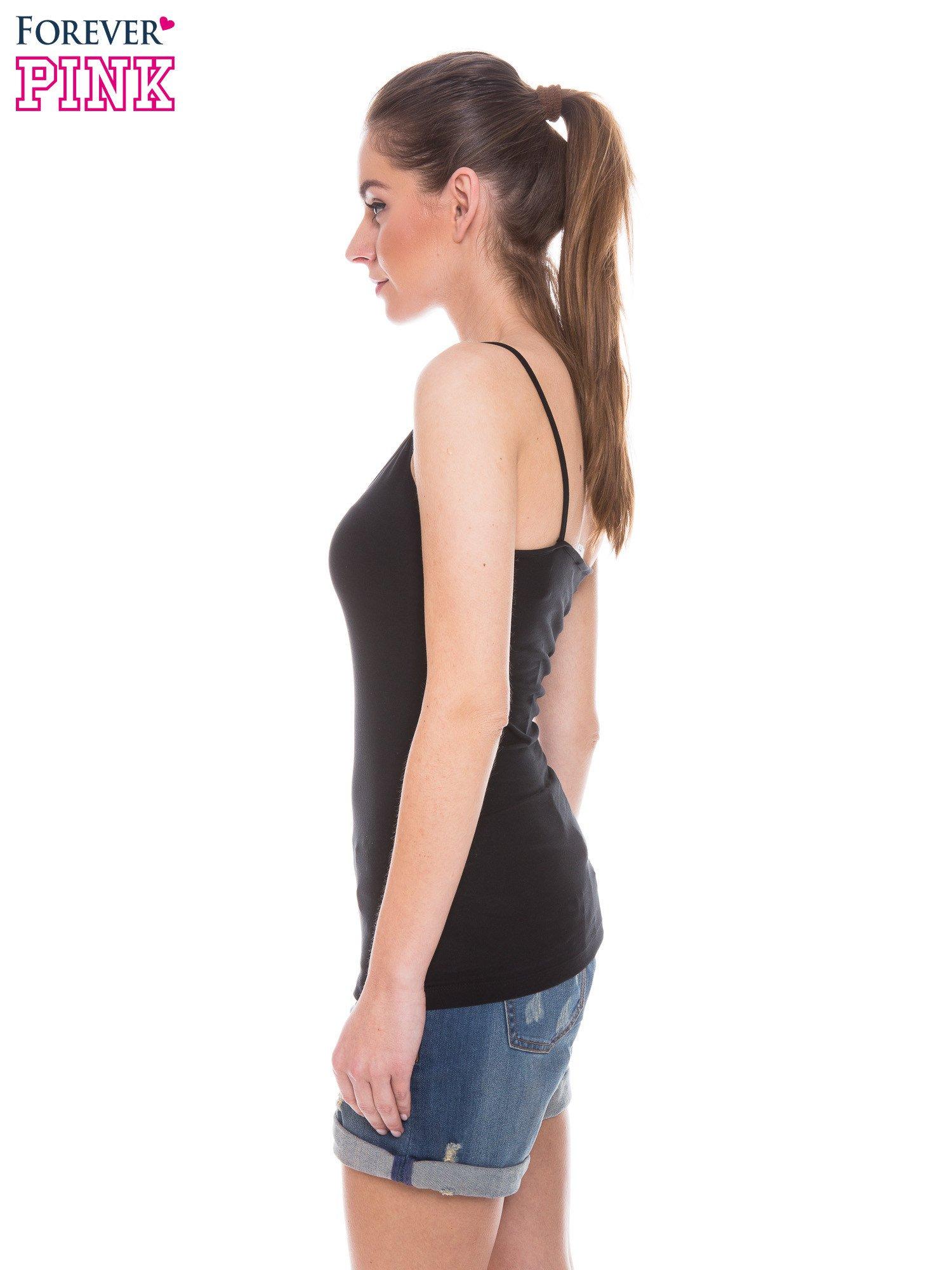 Czarny top na cienkich ramiączkach                                  zdj.                                  2
