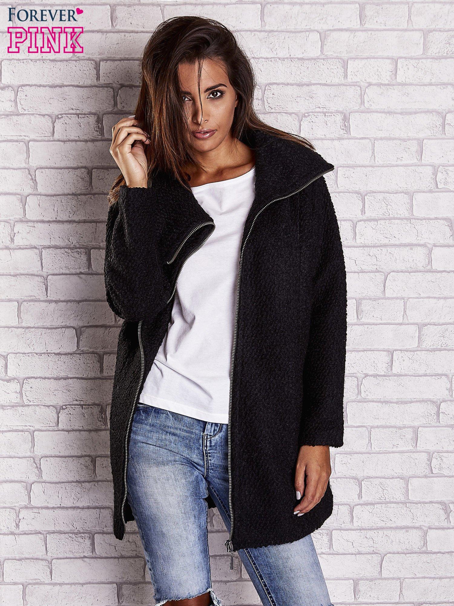 Czarny wełniany płaszcz z kieszeniami i dużym kołnierzem                                  zdj.                                  7