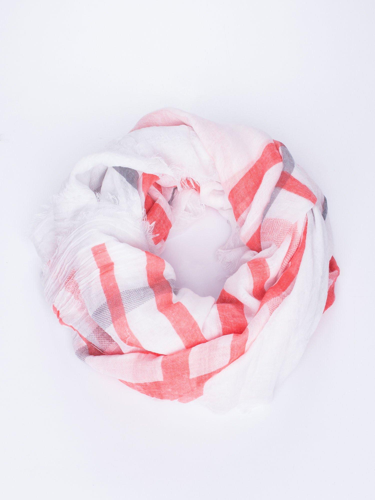 Czerwona bawełniana chustka z frędzelkami                                  zdj.                                  1