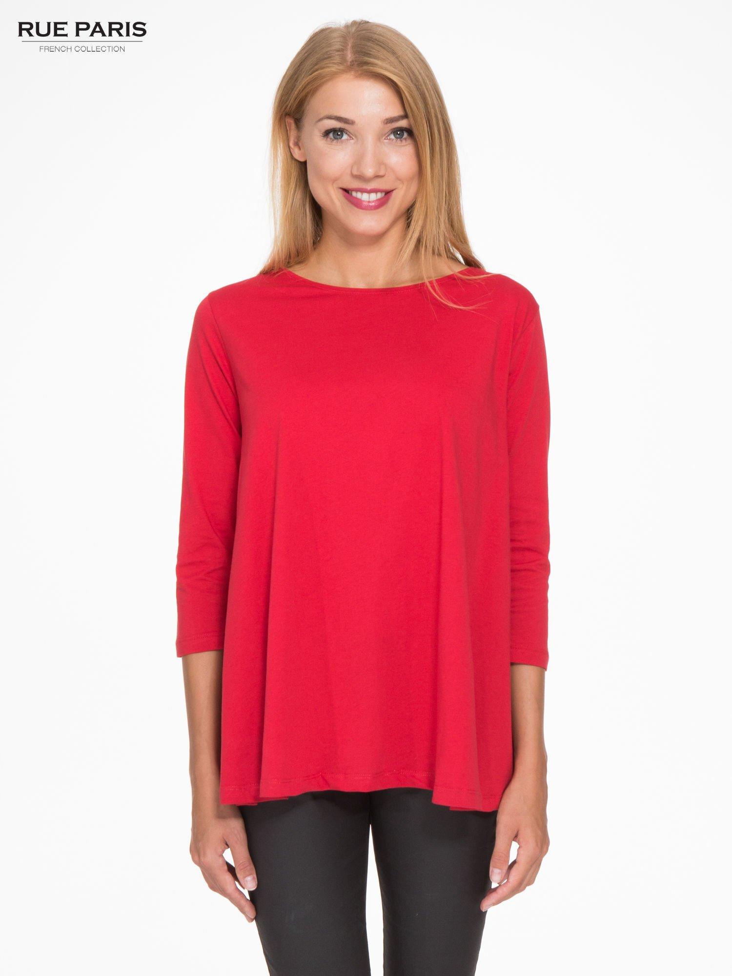 Czerwona bluzka o rozkloszowanym kroju z rękawem 3/4                                  zdj.                                  1