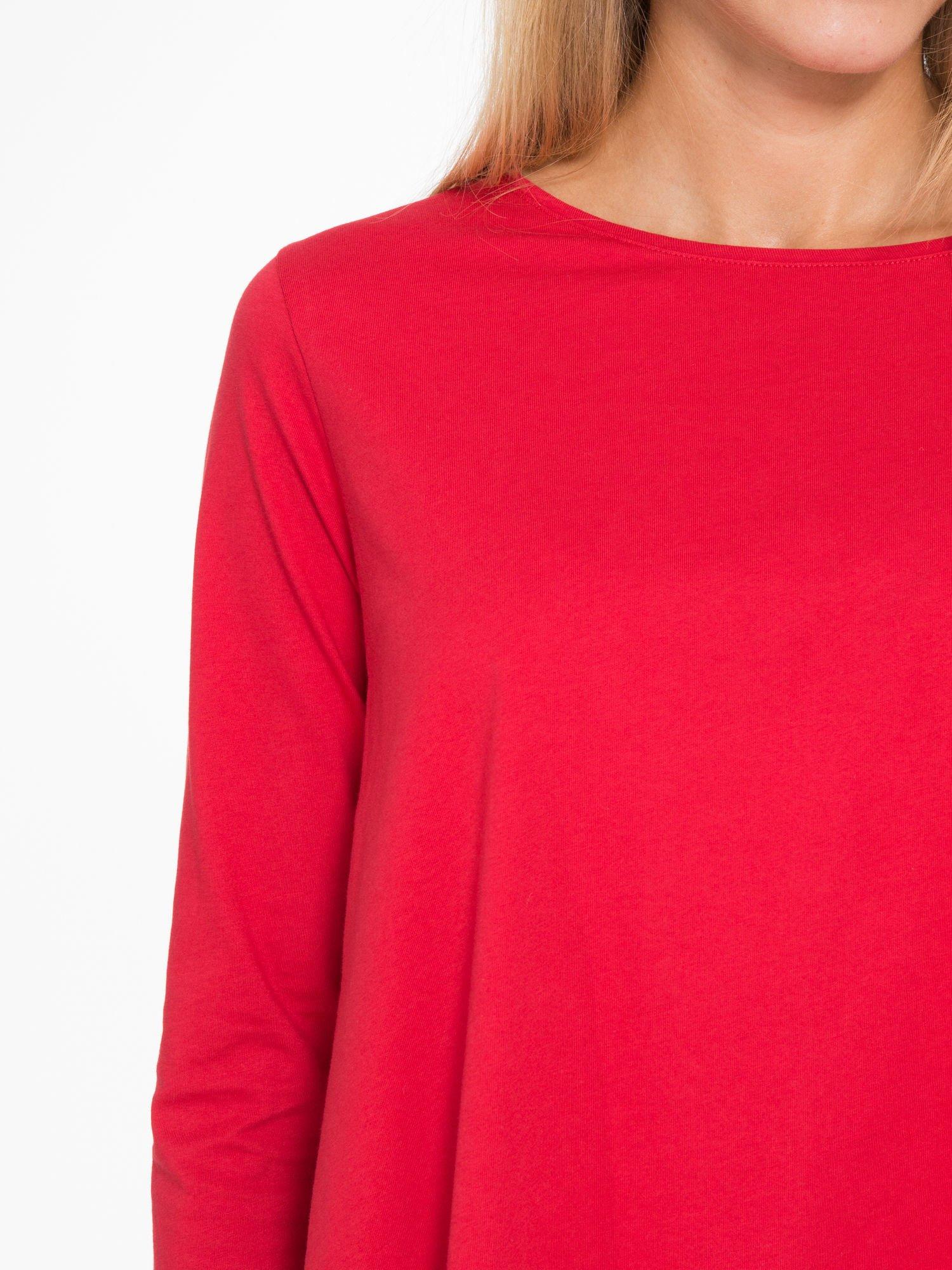 Czerwona bluzka o rozkloszowanym kroju z rękawem 3/4                                  zdj.                                  6
