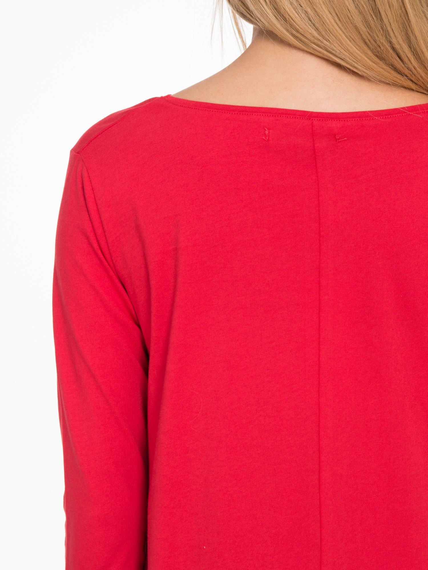 Czerwona bluzka o rozkloszowanym kroju z rękawem 3/4                                  zdj.                                  8