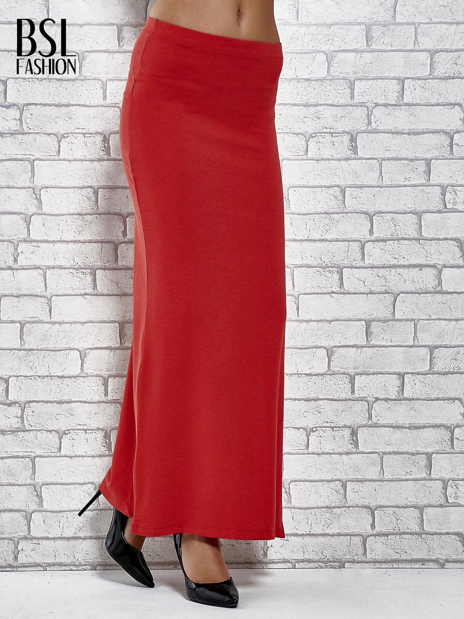 Czerwona długa spódnica maxi z rozporkiem                                  zdj.                                  1