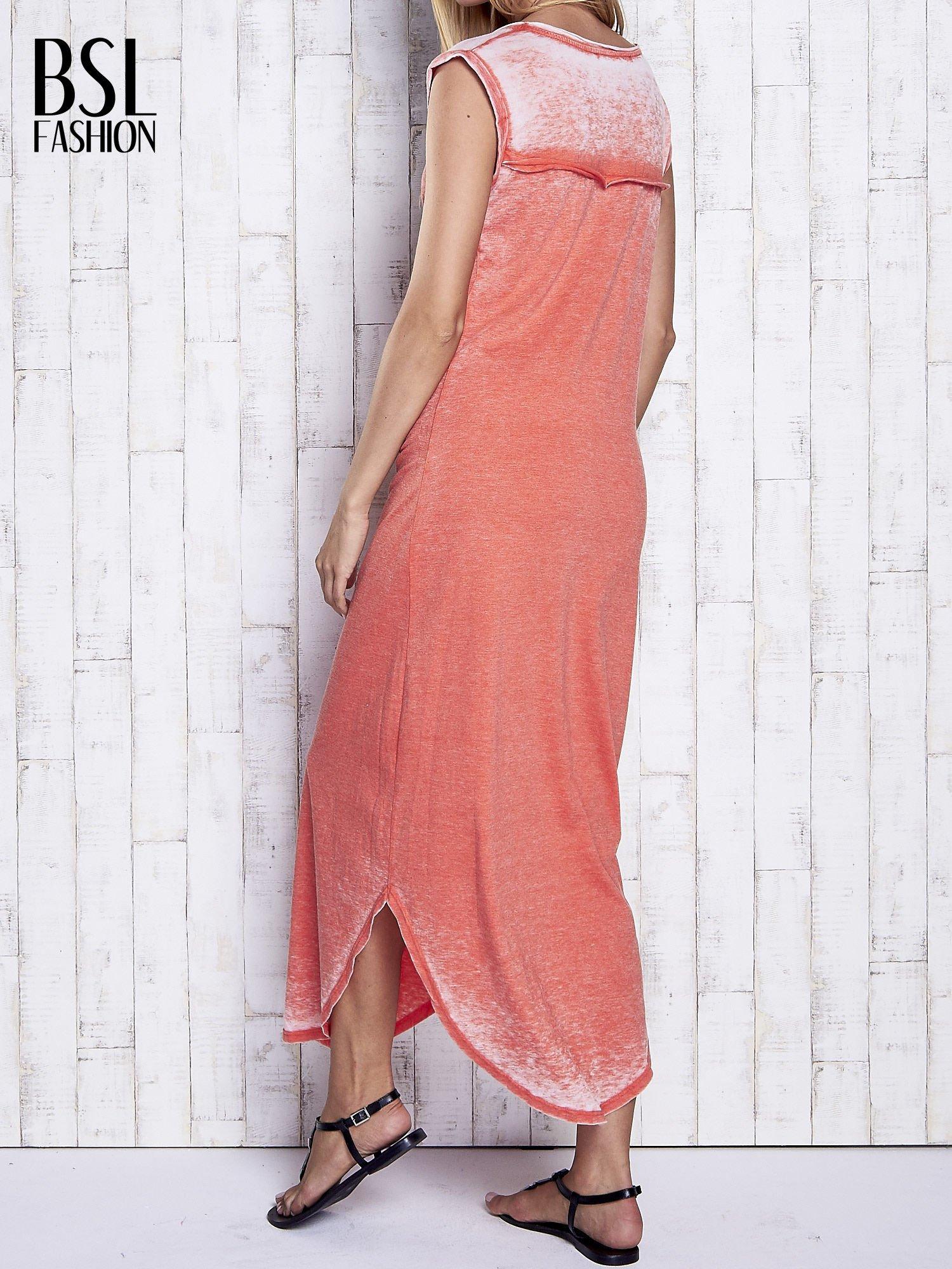 Czerwona długa sukienka acid wash                                   zdj.                                  2