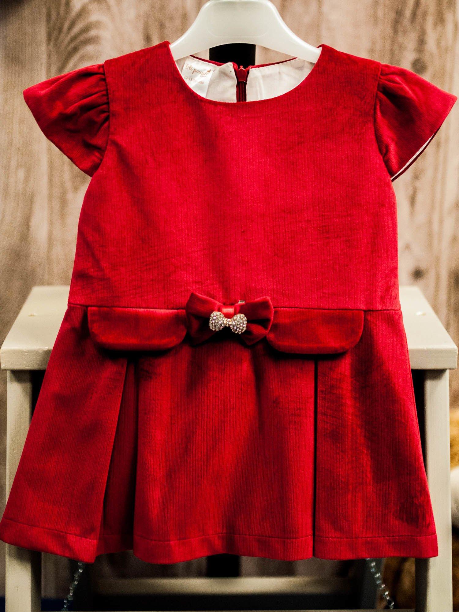 f719ce9651 Czerwona elegancka sukienka dziewczęca z kokardką z cyrkonii ...