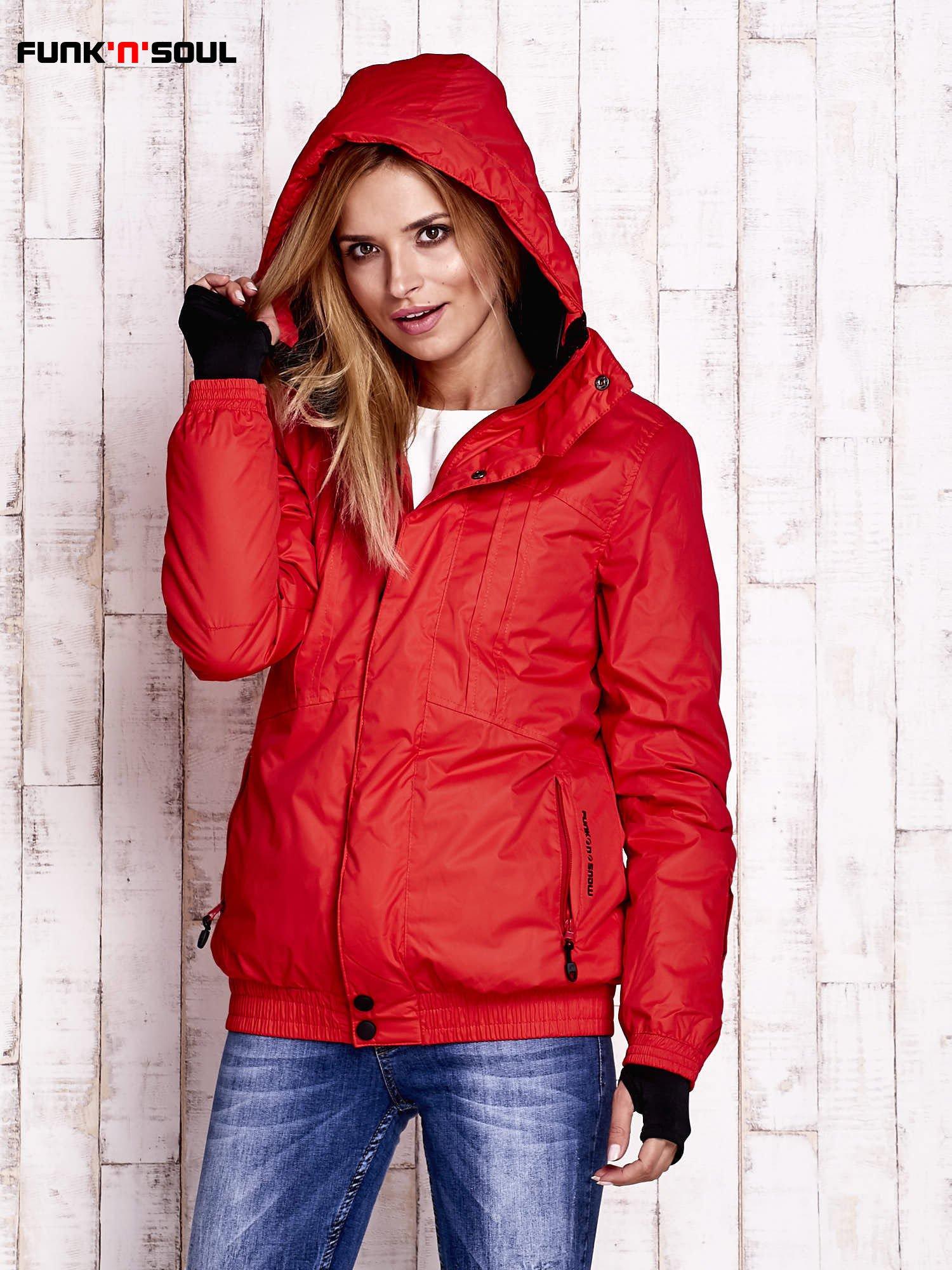 Czerwona ocieplana kurtka narciarska z kapturem FUNK N SOUL                                  zdj.                                  5