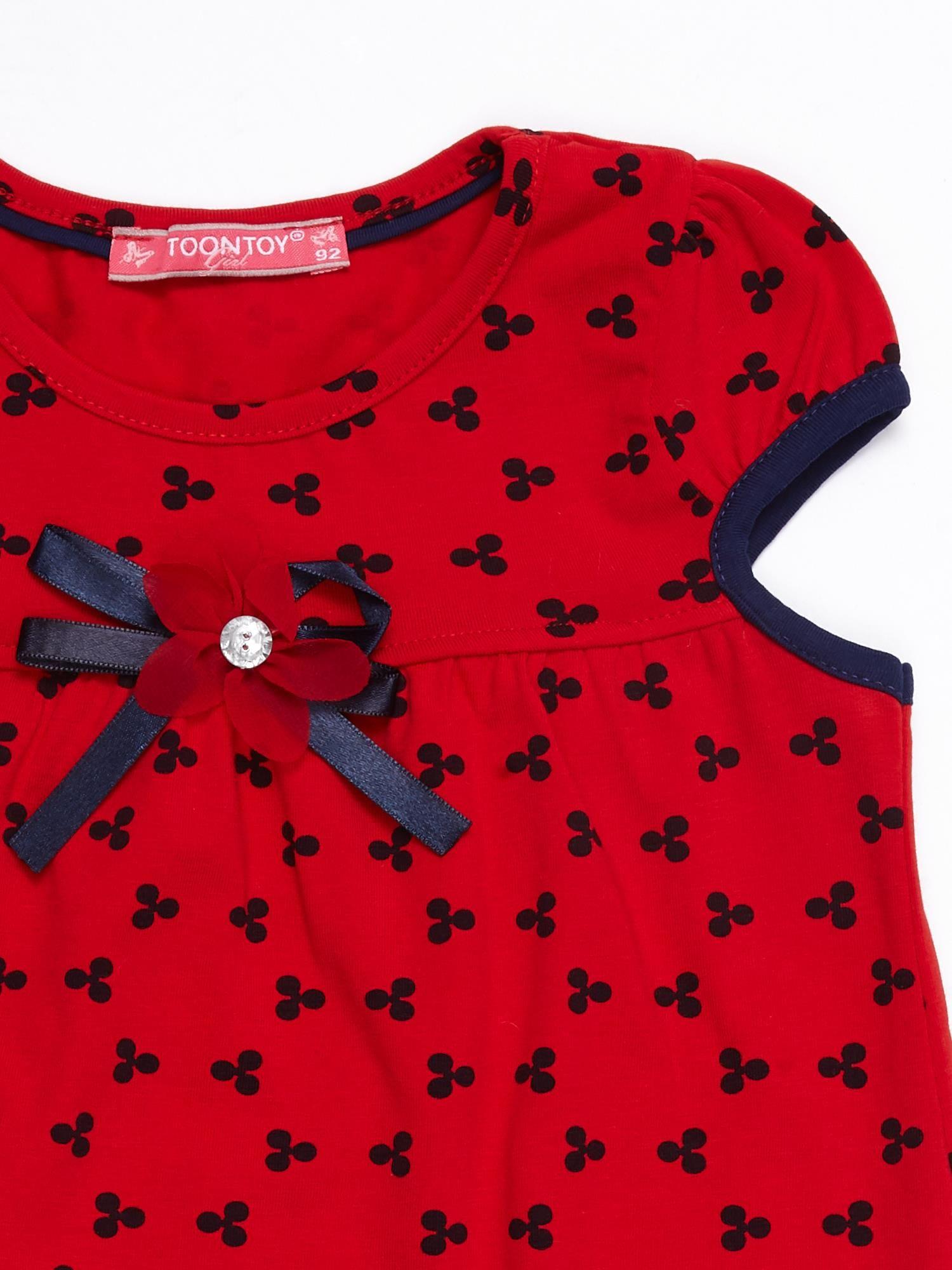4fee75c966 Czerwona sukienka dziecięca z nadrukiem all over - Dziecko Dziewczynka -  sklep eButik.pl