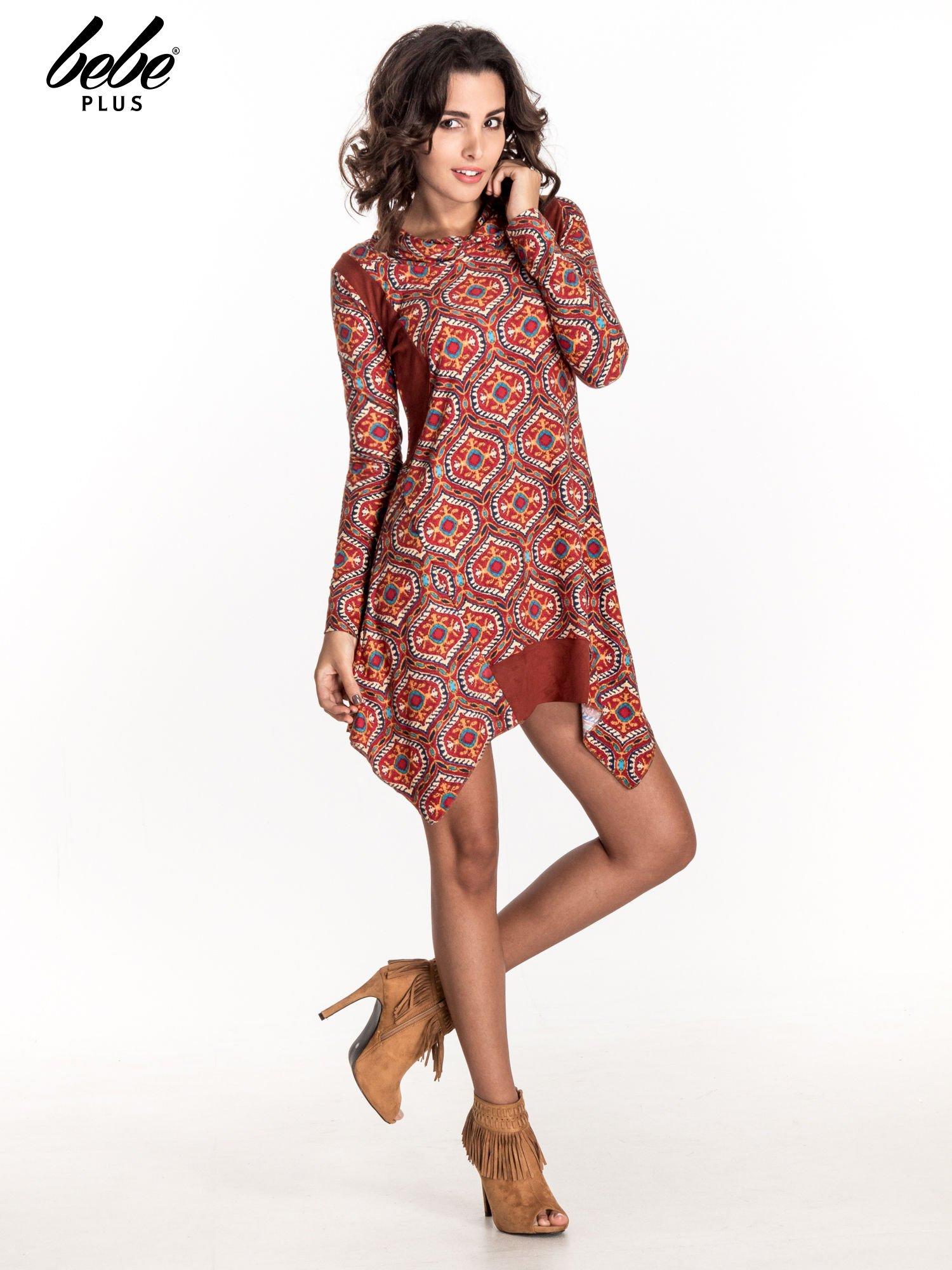 Czerwona sukienka etno z łączonych materiałów                                  zdj.                                  7